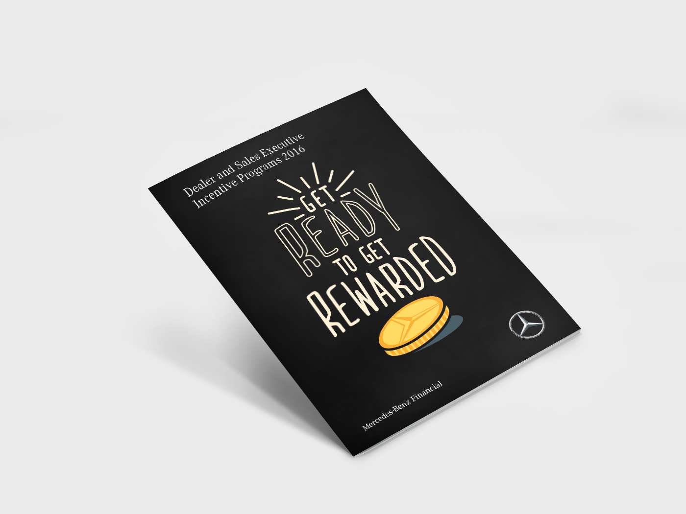 Mercedes-Benz Malaysia Incentive Programs 2016 booklet cover page with typography design and coin illustration containing brand logo