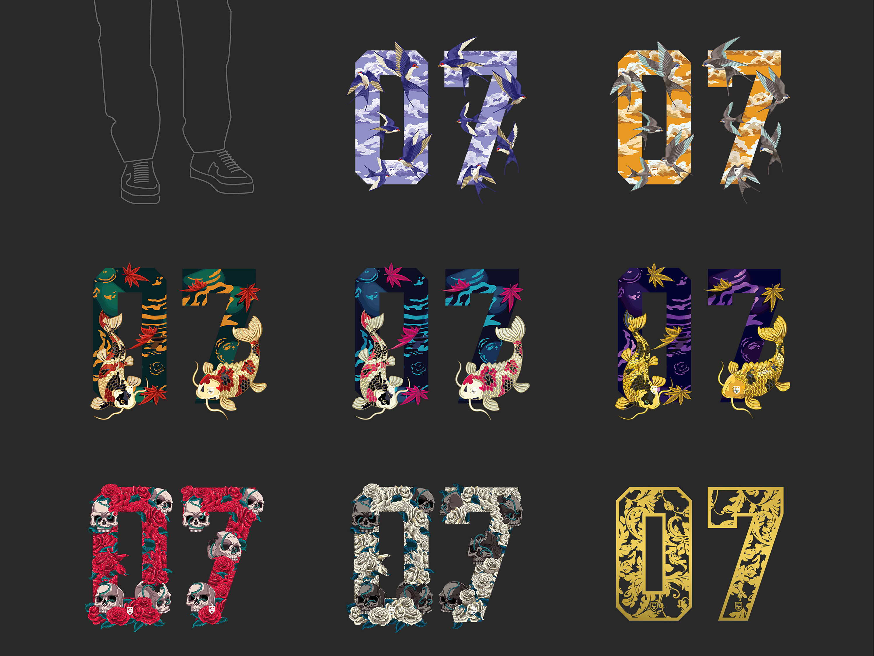 IDOTshirt branding development and brand collateral design showing illustration of number series with green, blue and purple koi fish design; purple and orange skies sparrows design; red and white skulls design and golden art deco leaves pattern design