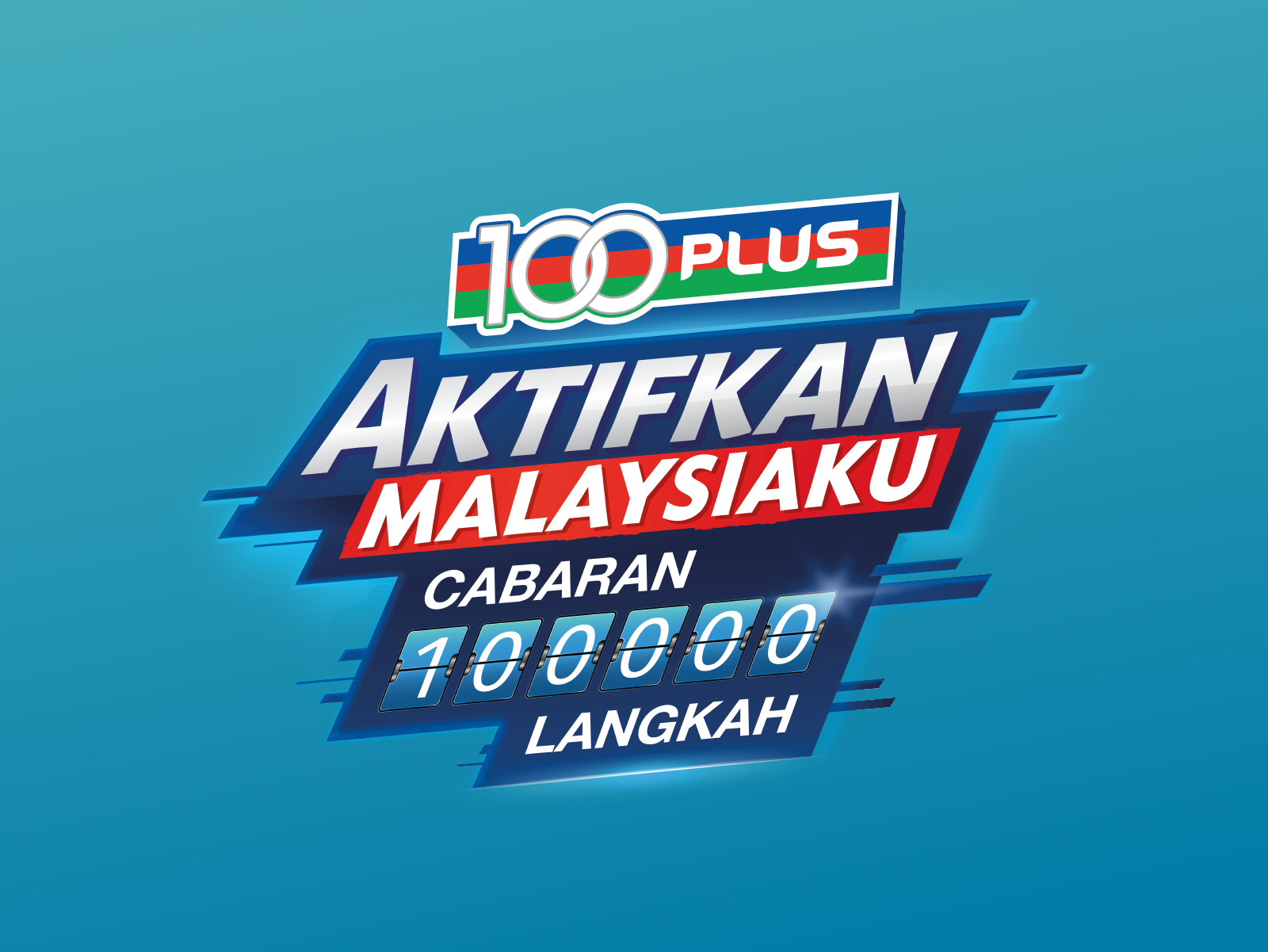 100Plus Aktifkan Malaysiaku 100,000 Steps Challenge campaign masthead design in bahasa Malaysia