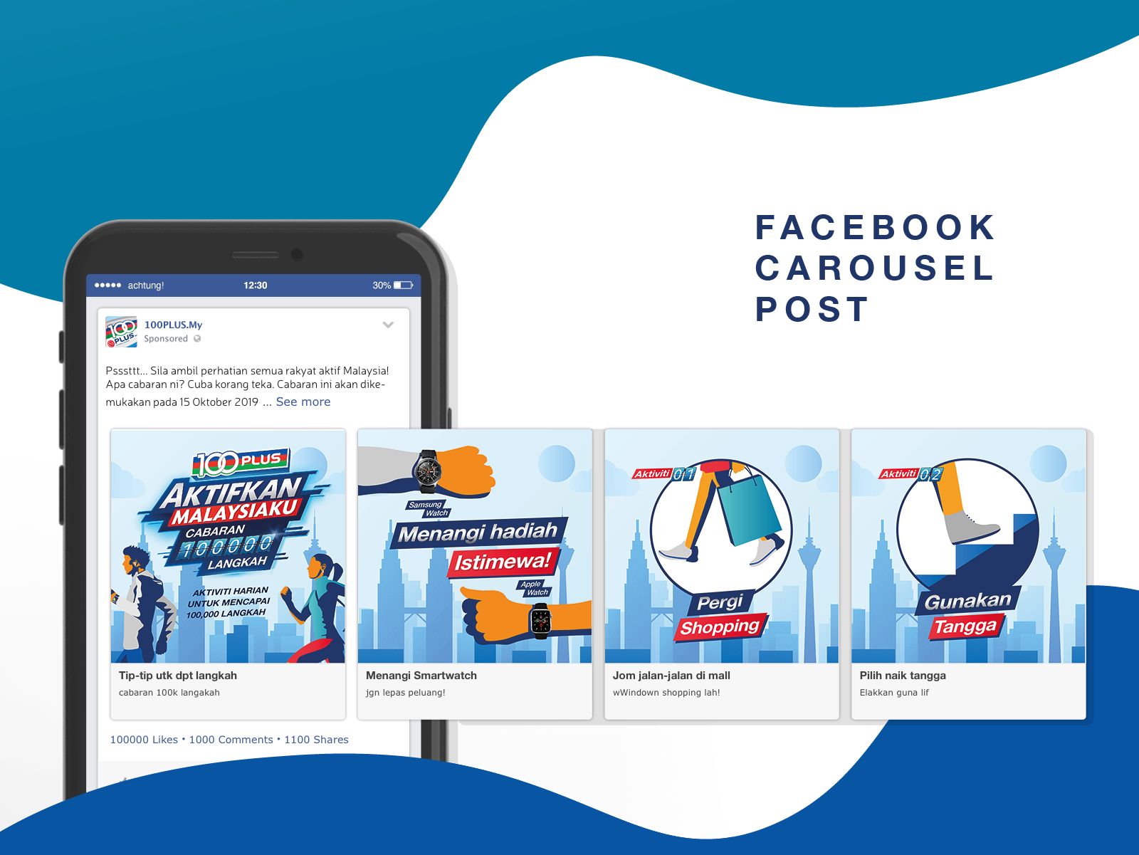 100Plus Aktifkan Malaysiaku 100,000 Steps Challenge campaign Facebook carousel visual featuring prizes and tips to achieve challenge