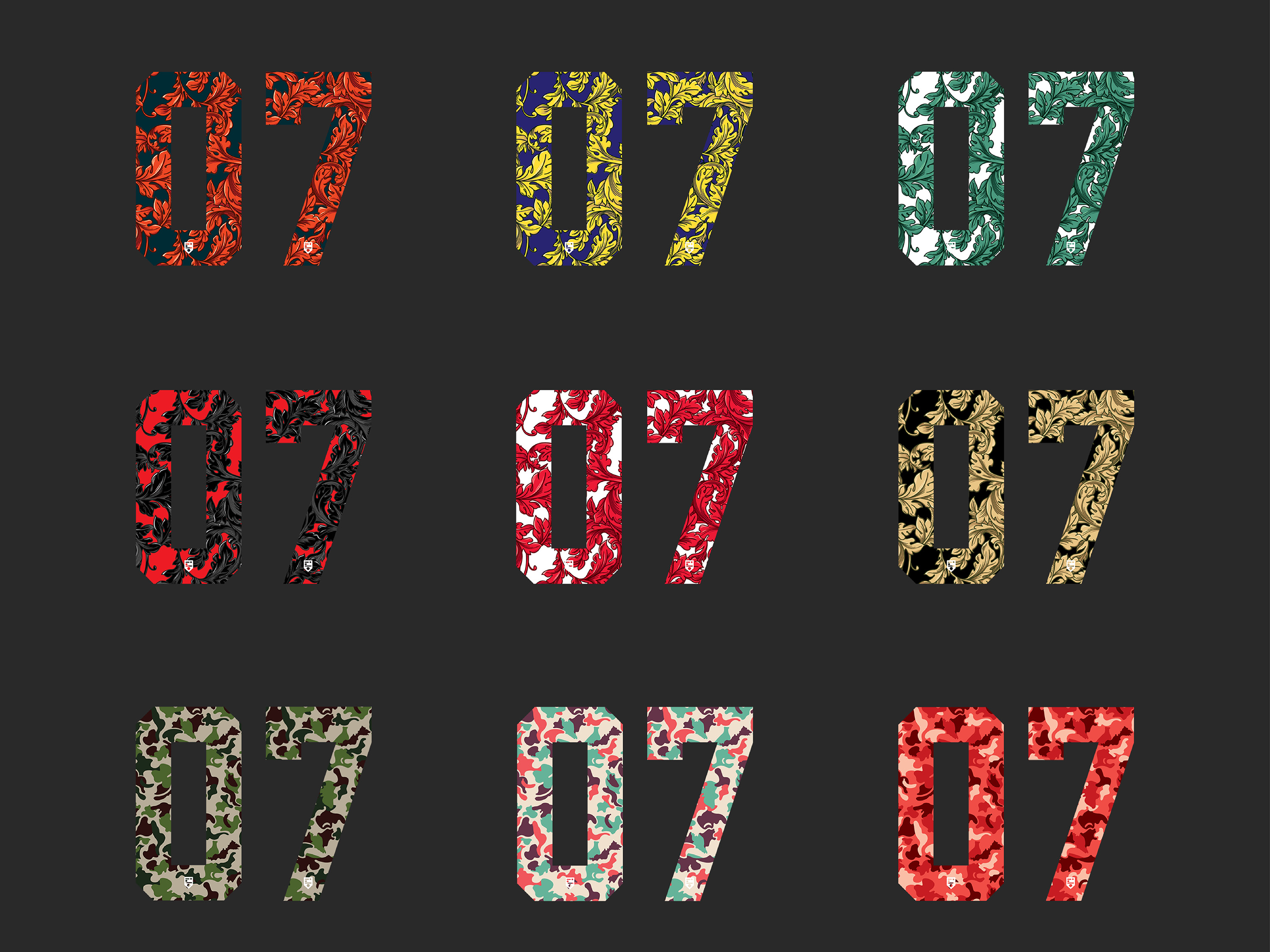 IDOTshirt branding development and brand collateral design showing illustration of number series with colourful selection of art deco leaves and camouflage patterns