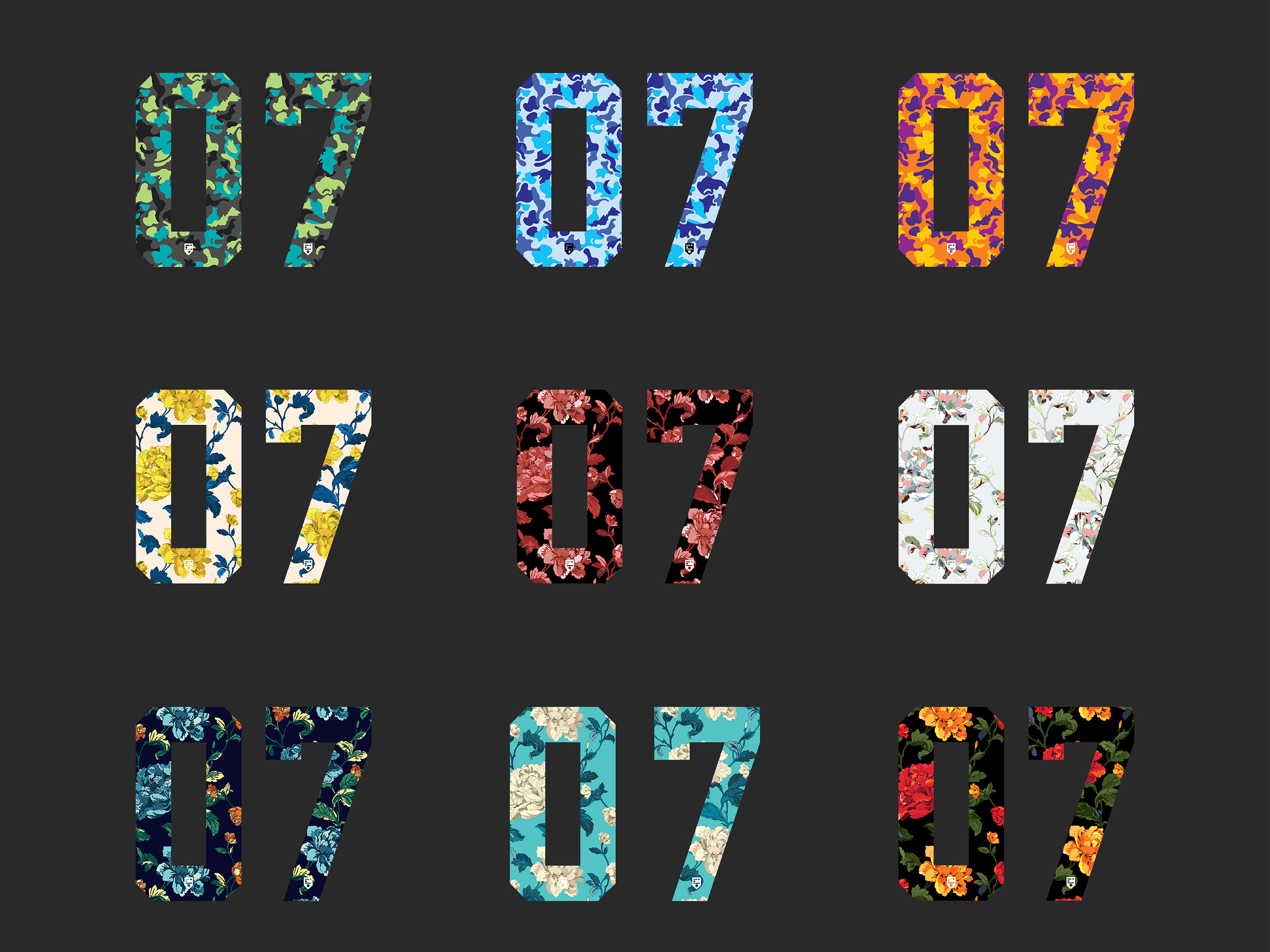 IDOTshirt branding development and brand collateral design showing illustration of number series with colourful selection of floral and camouflage patterns