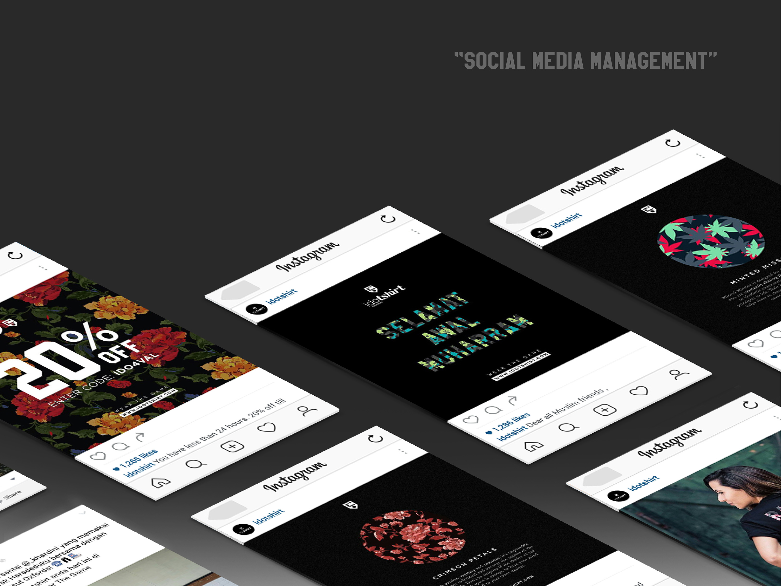 IDOTshirt social media management post design using patterns in product introduction post, greeting post and sharing customer post to create brand relationship