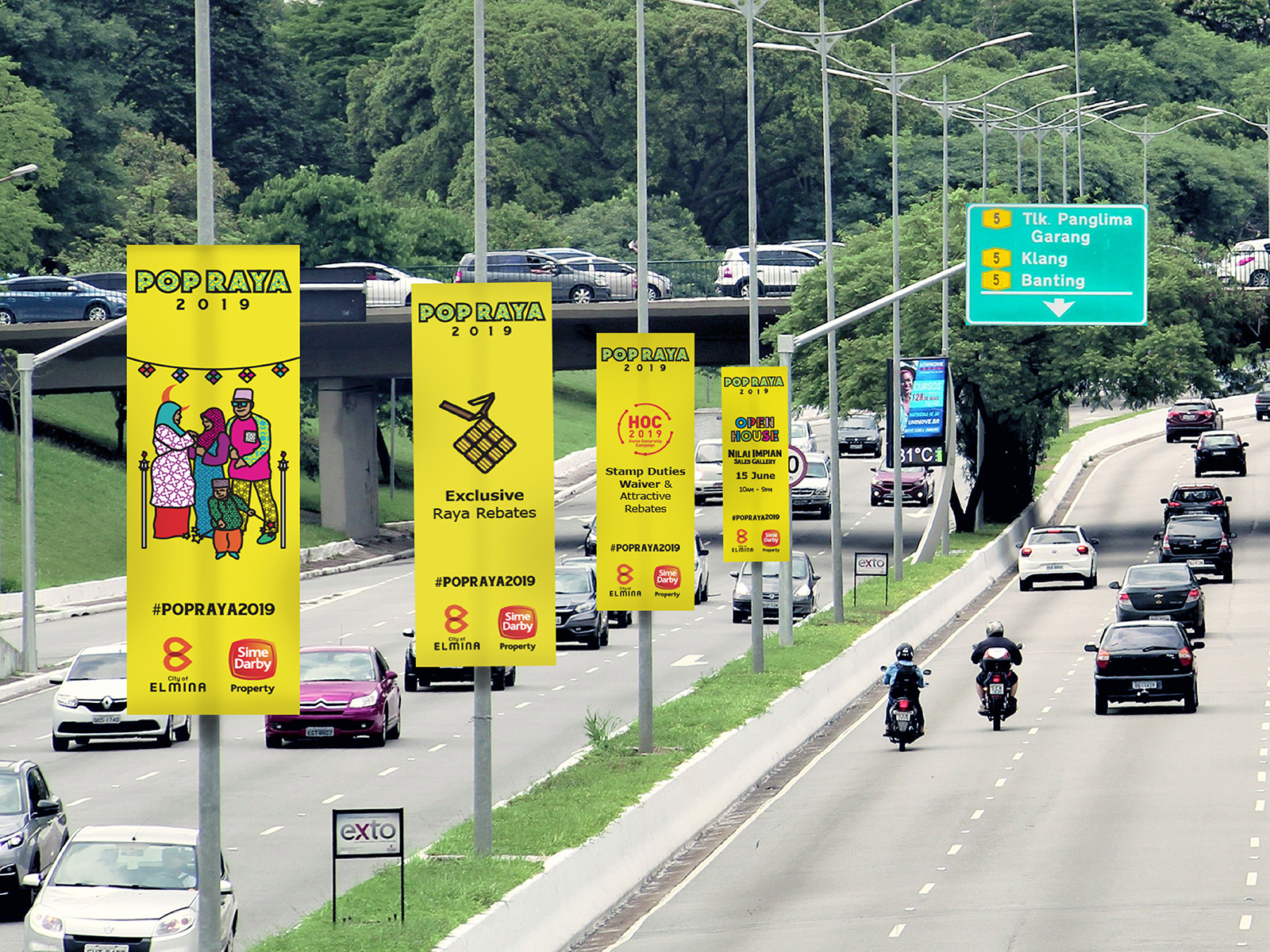 Sime Darby POPRAYA 2019 key visual adaptation into street buntings which appeared on few major highways