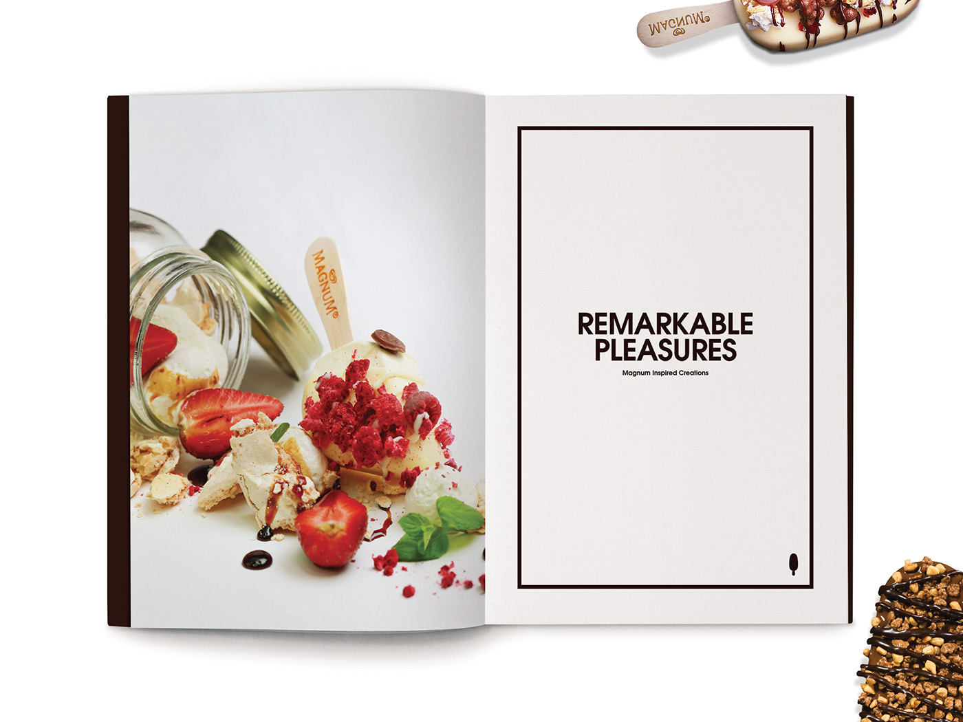 Magnum Pleasure Store menu design inner page layout design with beautiful food styling and photography.