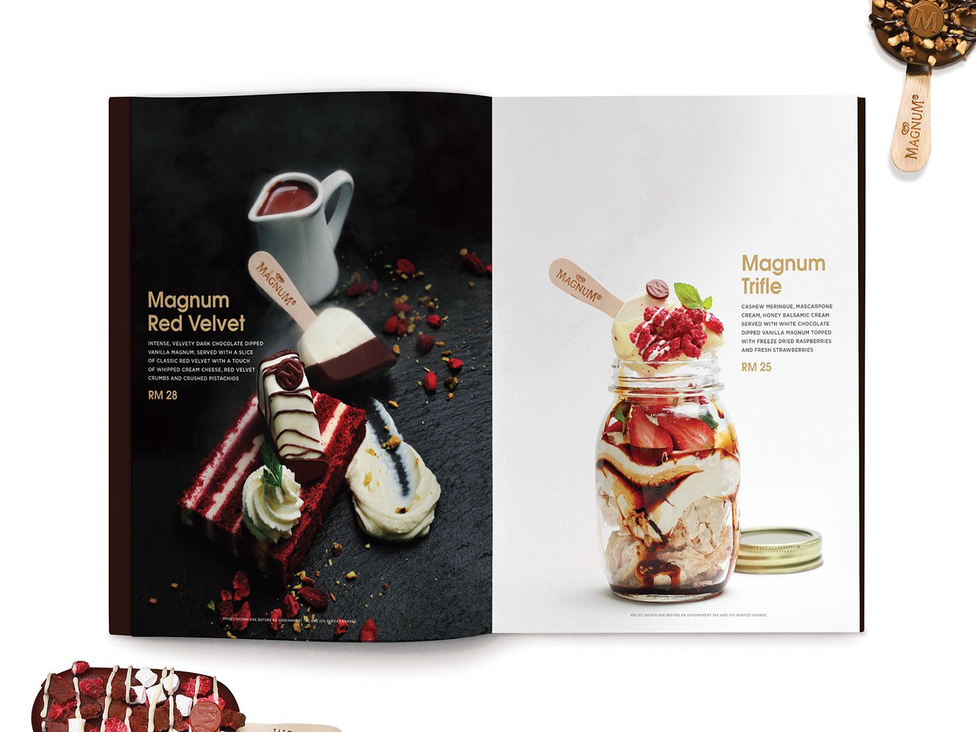 Magnum Pleasure Store menu design inner page layout design with beautiful food styling and photography of Magnum red velvet and trifle.