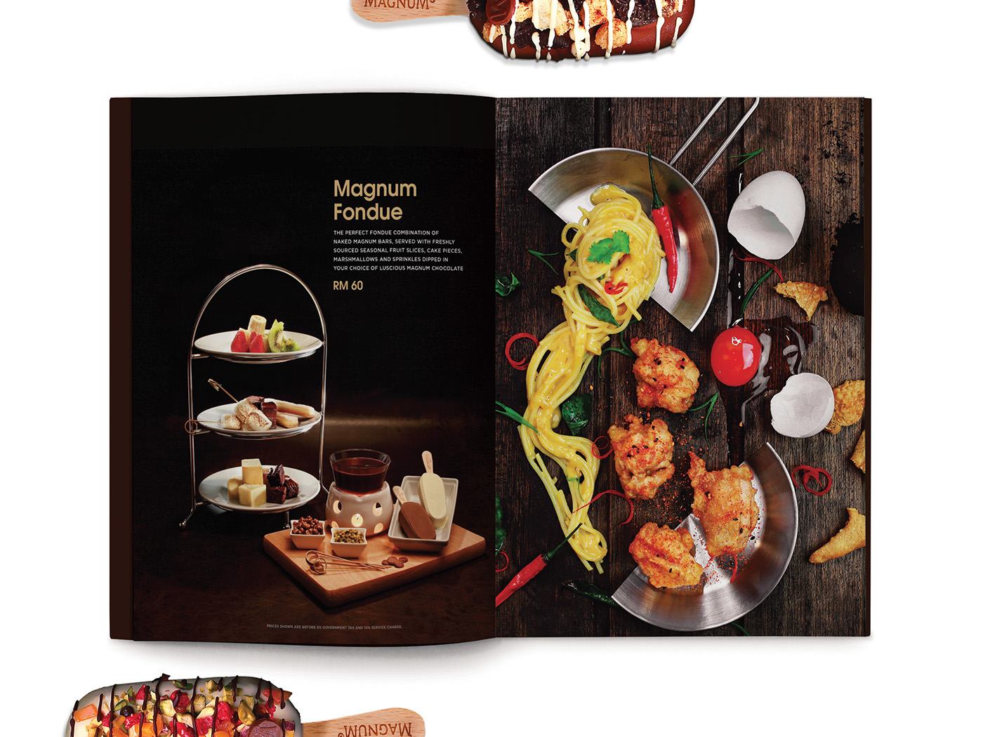 Magnum Pleasure Store menu design inner page layout design with beautiful food styling and photography of Magnum Fondue.