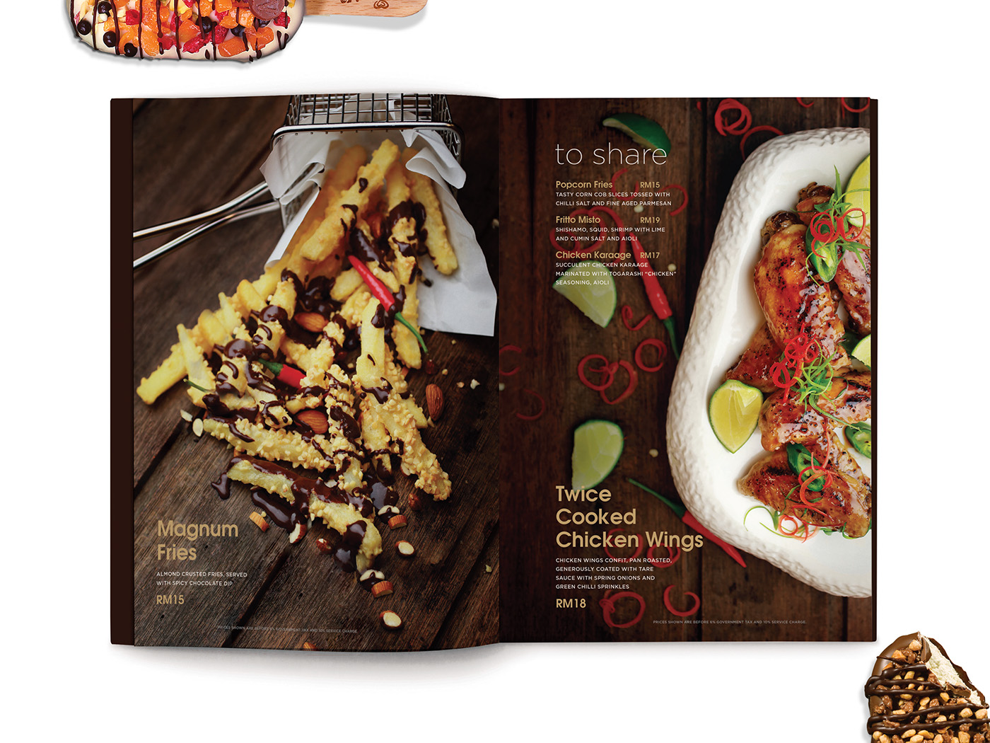Magnum Pleasure Store menu design inner page layout design with beautiful food styling and photography of fries and chicken wings.