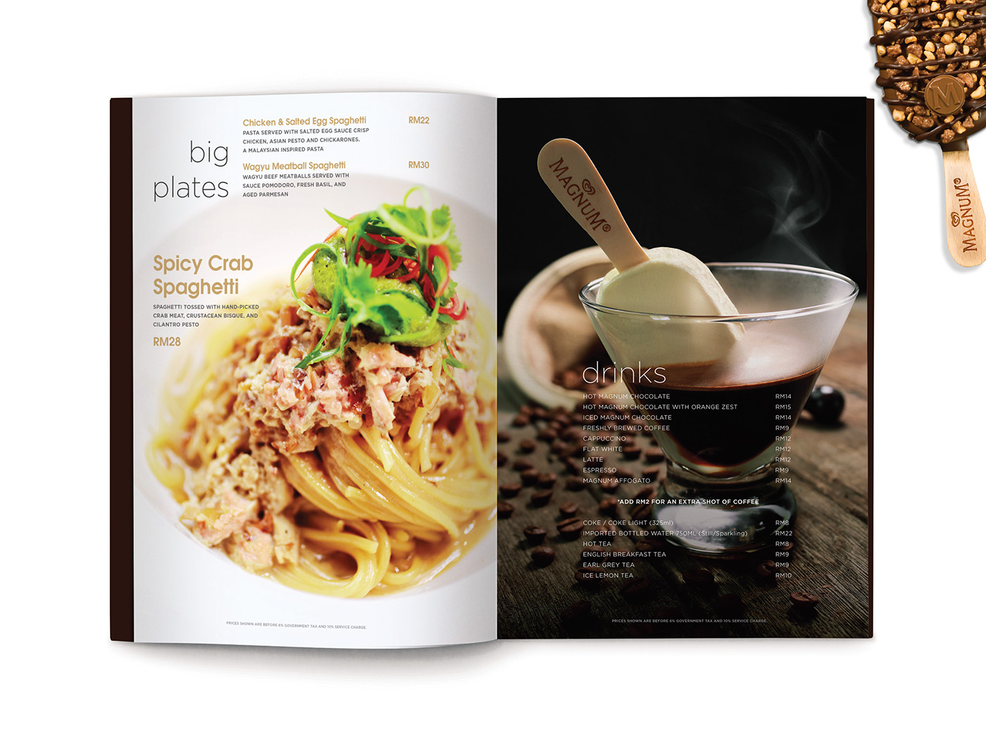 Magnum Pleasure Store menu design inner page layout design with beautiful food styling and photography of spicy crab pasta and drinks selection with ice cream
