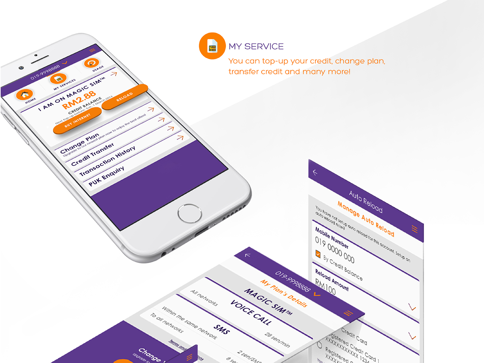 Xpax mobile app my service pages where users can top-up credit, change plan, transfer credit and so much more