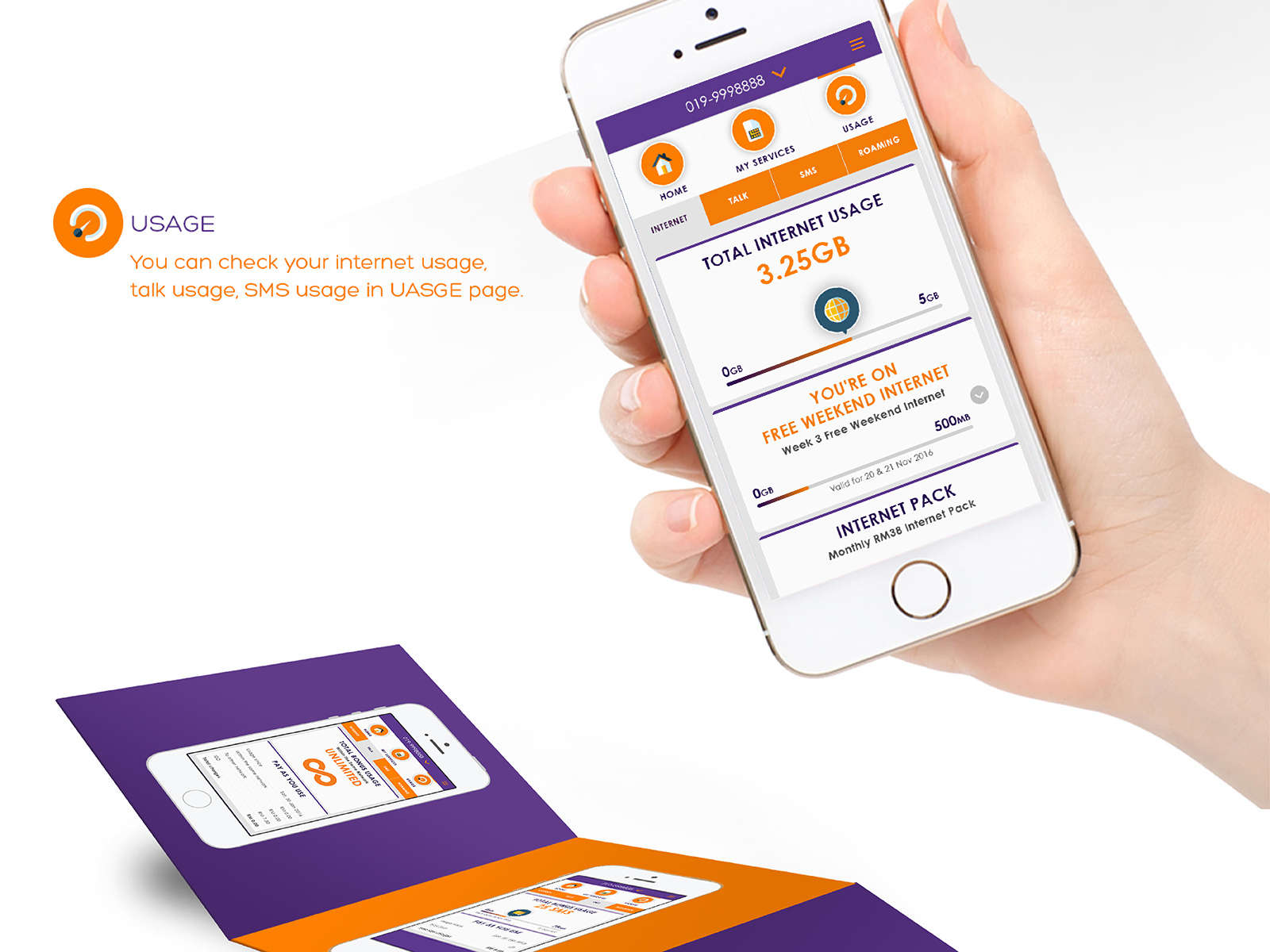 Xpax mobile app usage pages tells users their internet usage and talk-time usage.