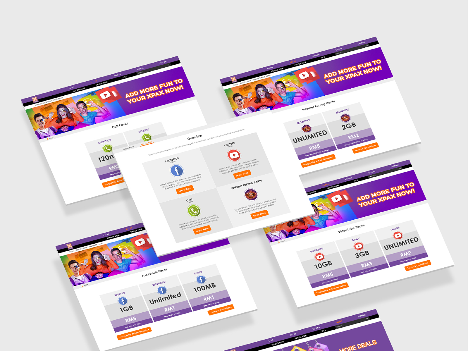 Xpax microsite roaming, reload and various other page user interface and user experience design