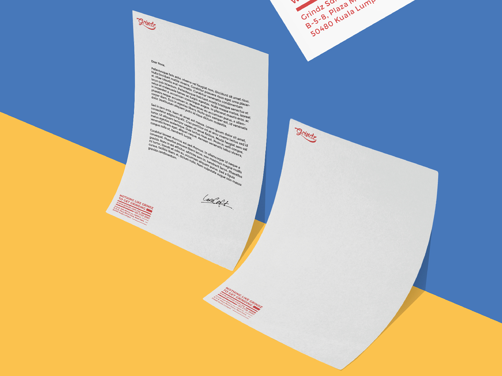 Grindz supplement brand collaterals design featuring letterhead with thick to thin lines to show weight loss on solid half blue half yellow background