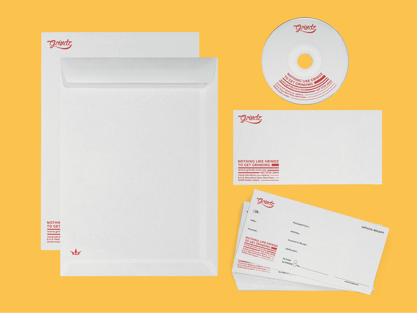 Grindz supplement brand collaterals design featuring envelope, receipt and CD sticker with thick to thin lines to show weight loss
