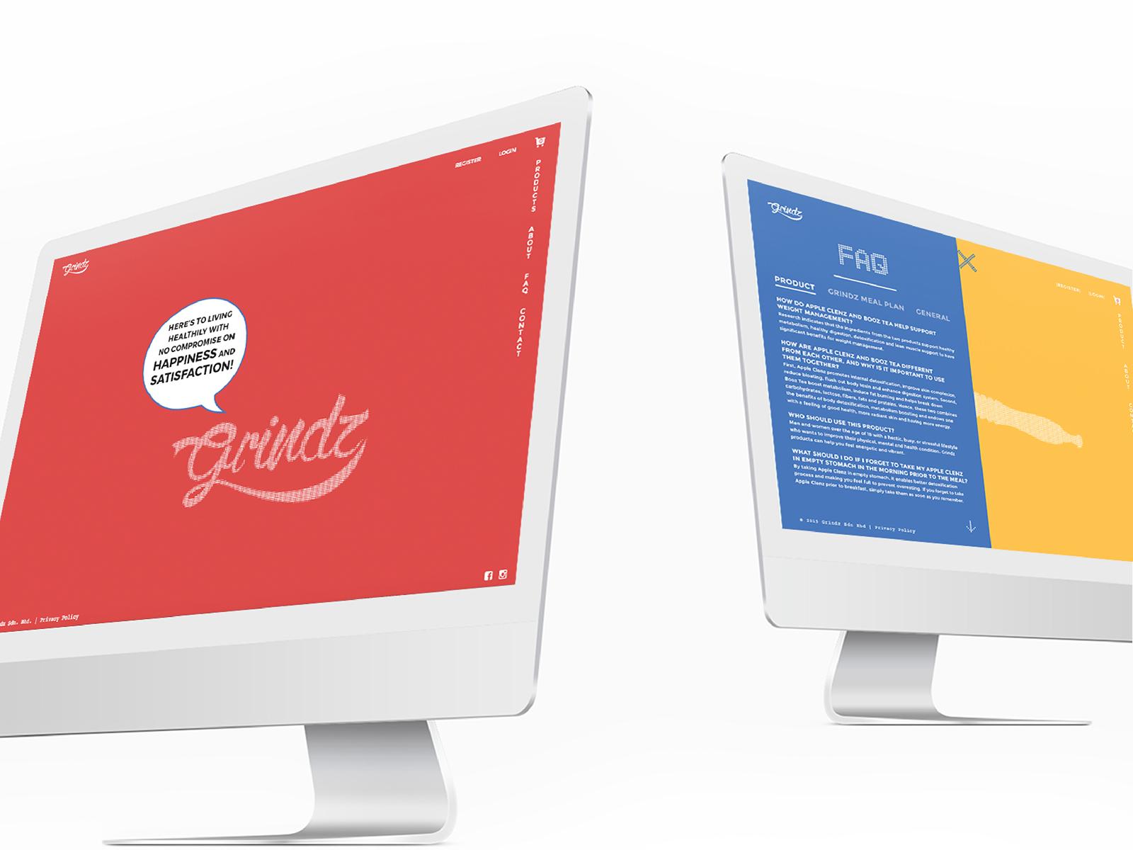 Grindz supplement brand website desktop view showing landing and FAQ page