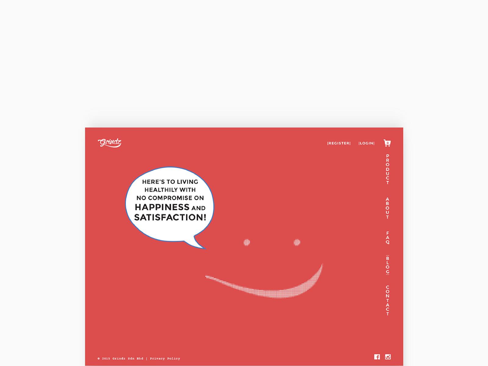 Grindz supplement brand website desktop view showing landing with animated graphics