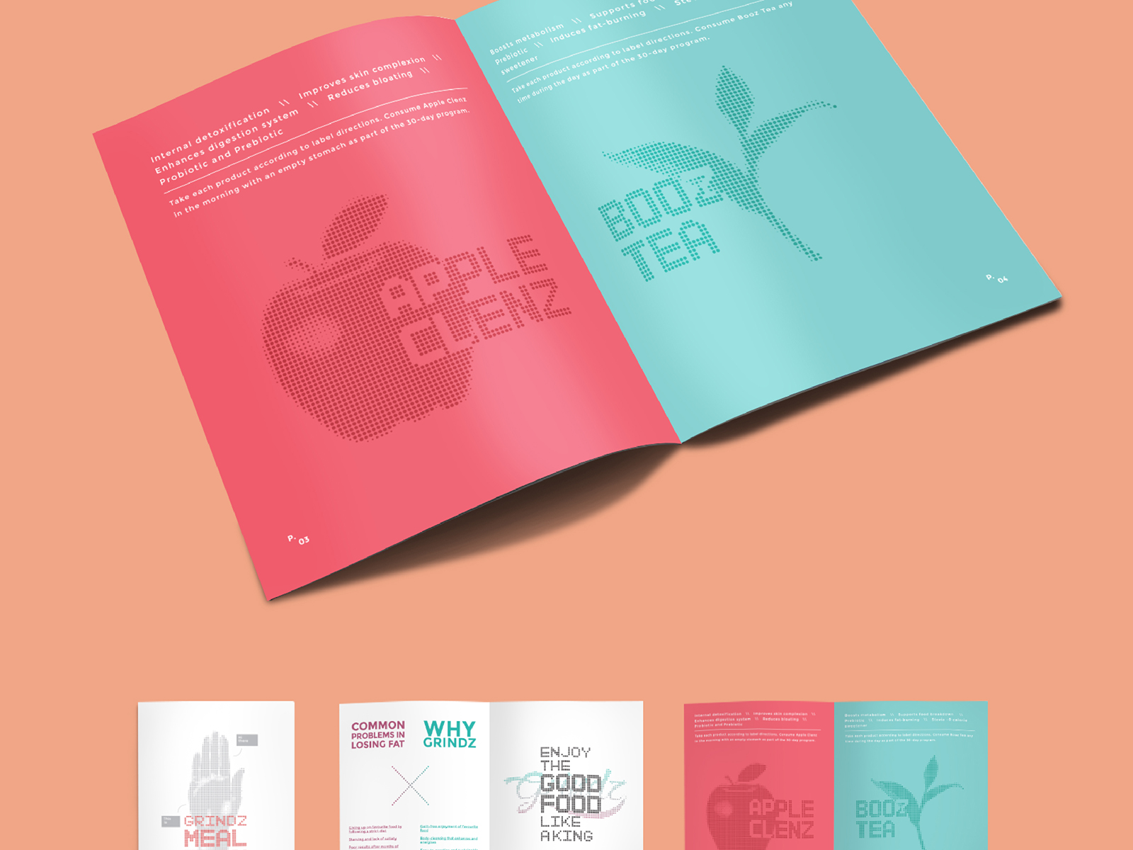 Grindz supplement brand collaterals design of guidebook inner pages featuring their product USP for Apple Clenz and Booz Tea