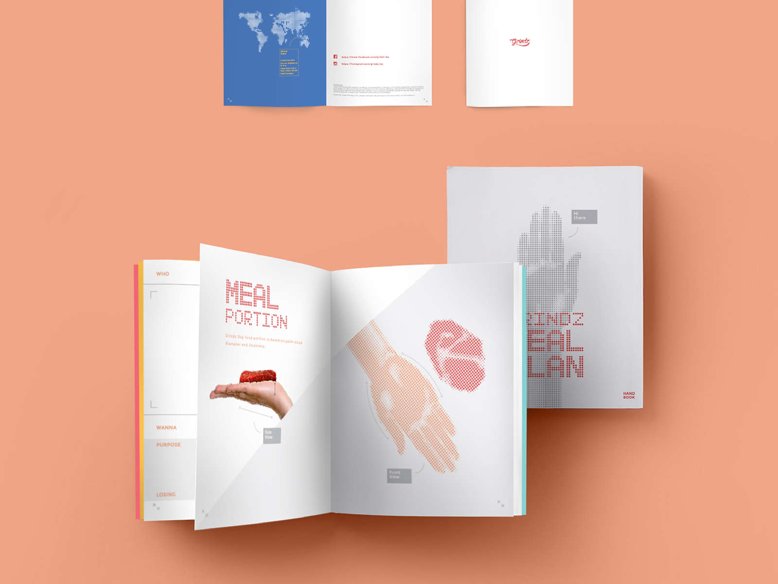 Grindz supplement brand collaterals design of guidebook inner pages of information of nutrition and weight loss alongside schedule for food consumption