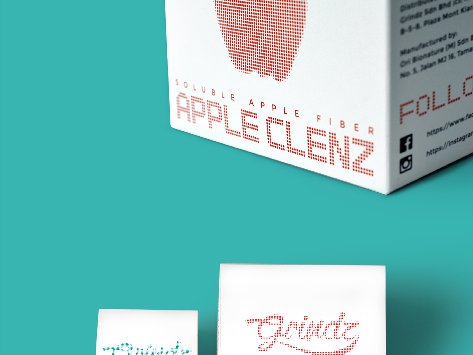 Grindz supplement brand collaterals design of product packaging for Apple Clenz and Booz Tea ninety degree and top view