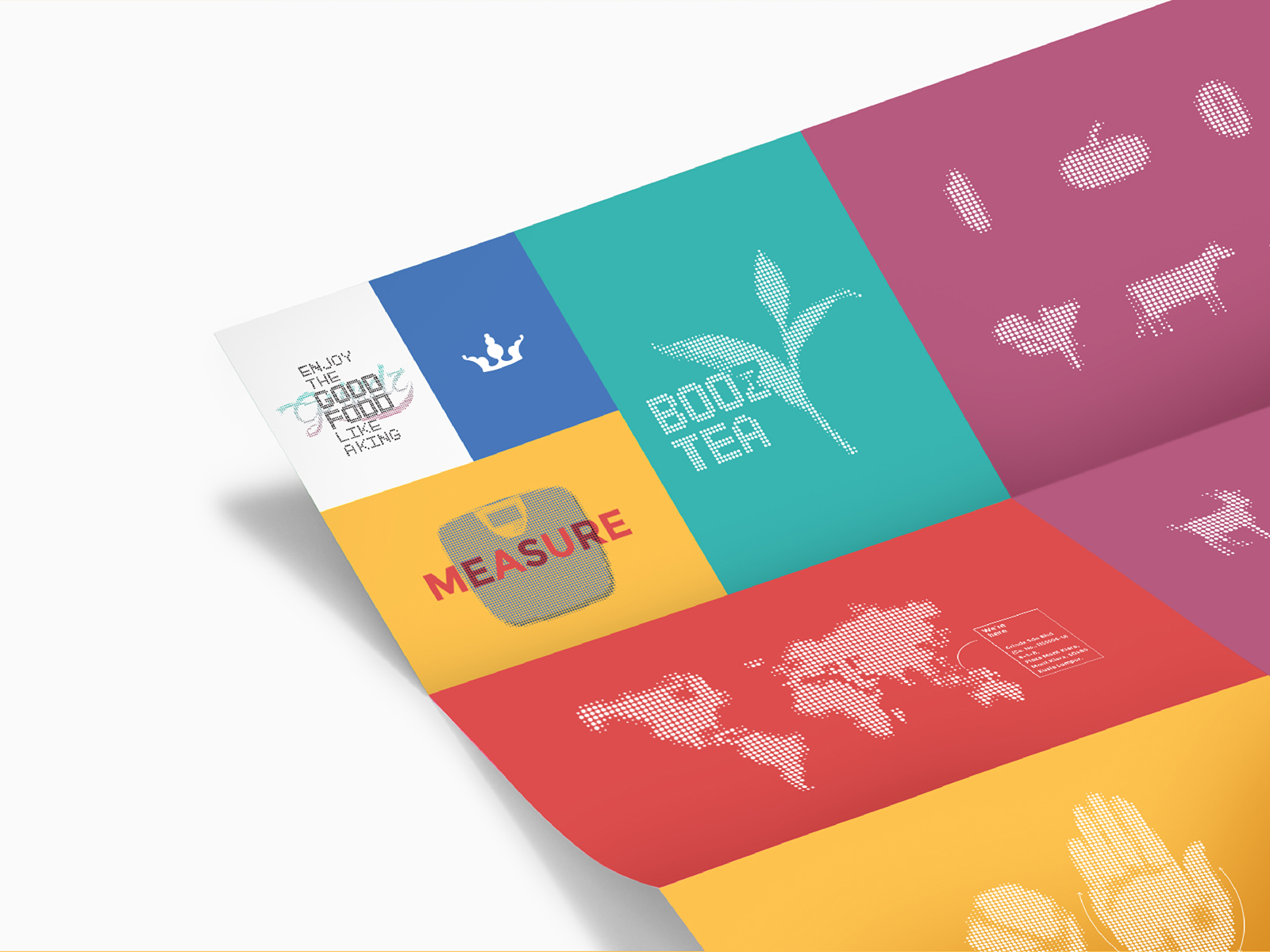 Grindz brand illustration featuring tea leaves, world map, hand and various food
