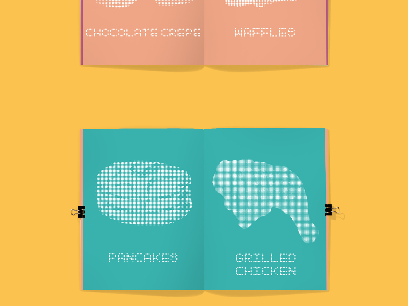 Grindz brand illustration used in social media management showing chocolate crepe and waffles with pancakes and grilled chicken