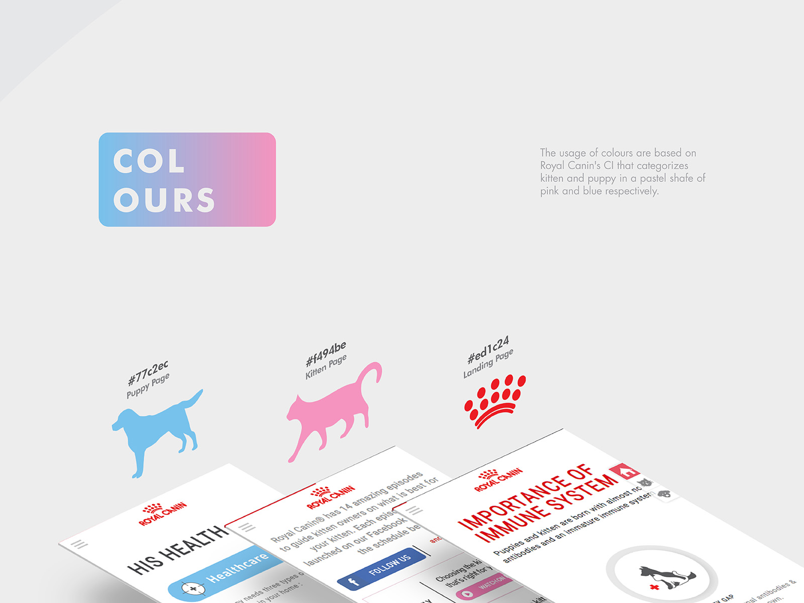 Royal Canin birth and growth campaign microsite brand colour implementation for put and product separation