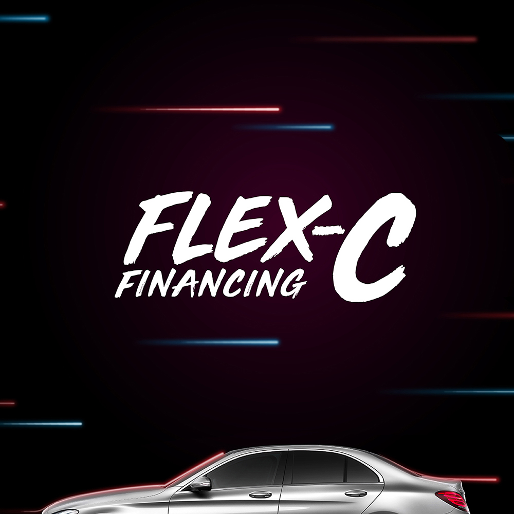 Mercedes-Benz Flex C financing plan masthead design over the latest C class car.