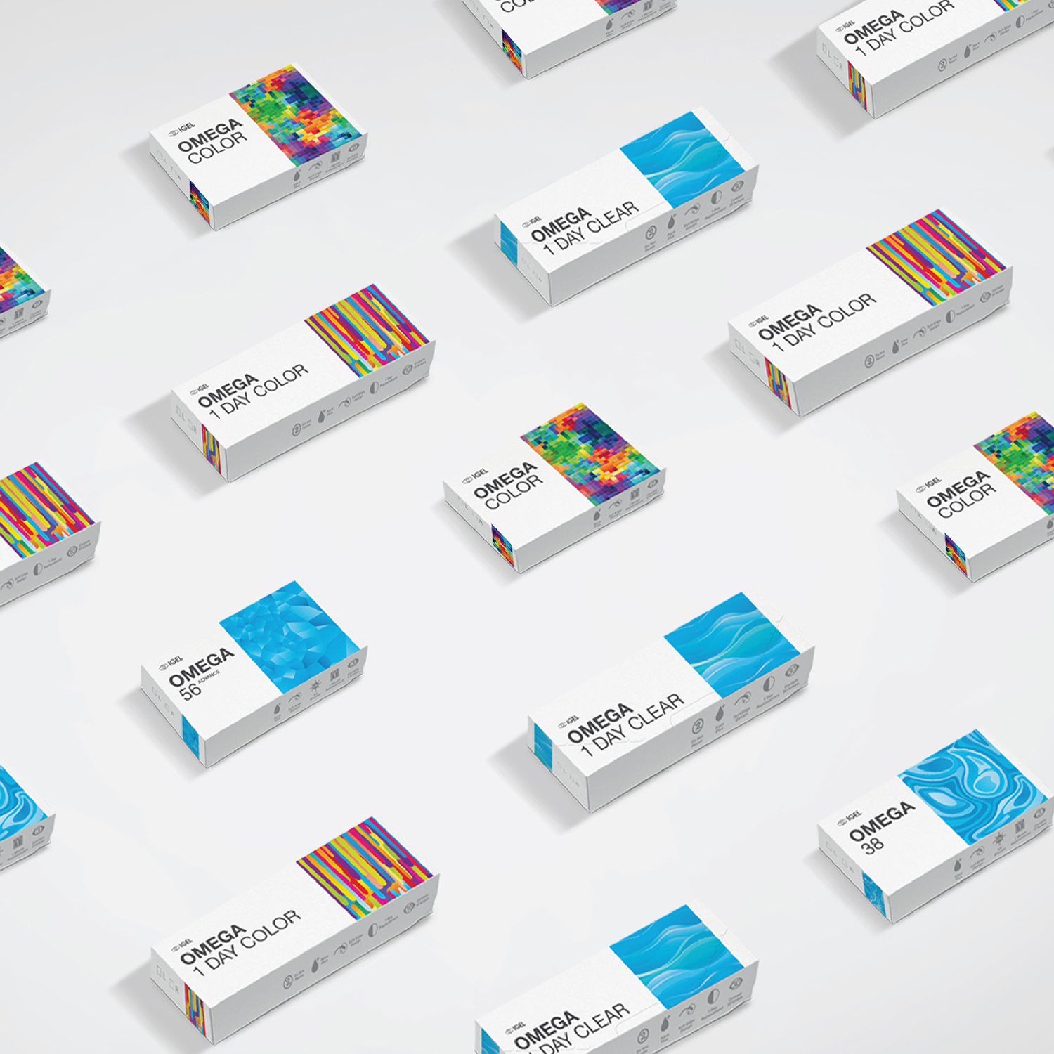 IGEL contact lens packaging with vibrant colours and bold element design lined up in photo