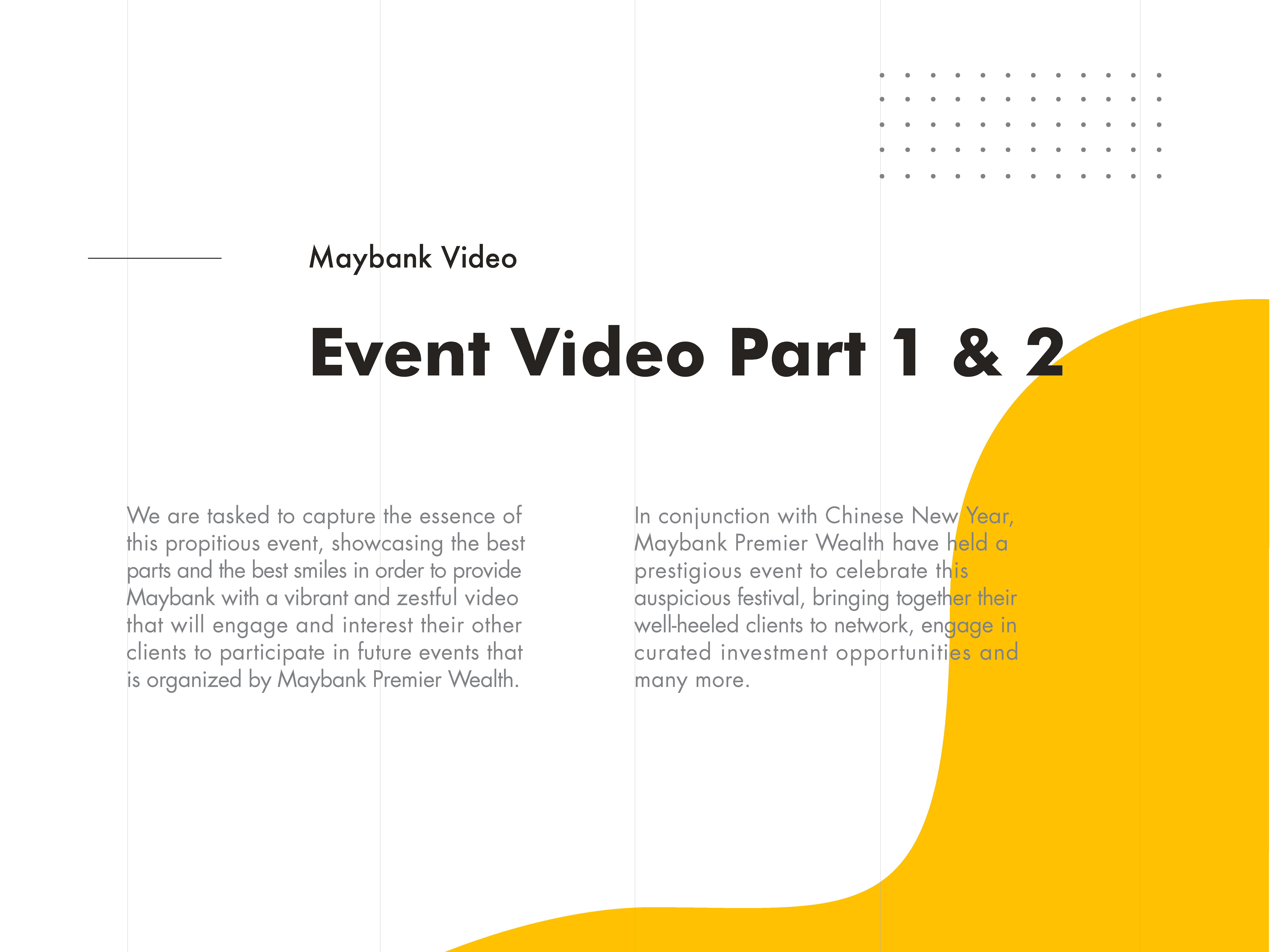Maybank Premier Wealth Chinese New Year event video shooting and editing description