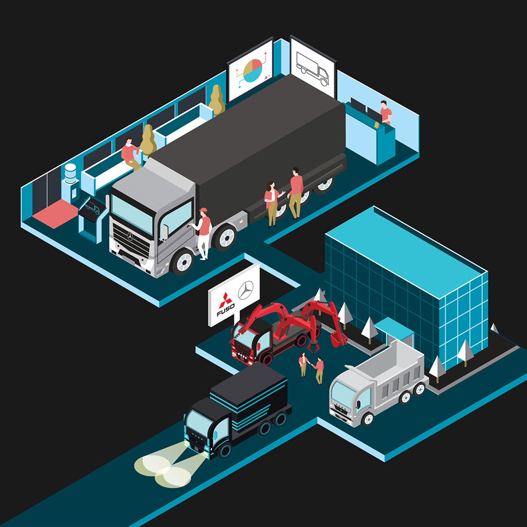 Part of Mercedes-Benz Malaysia local operations illustration for their headquarters wall art