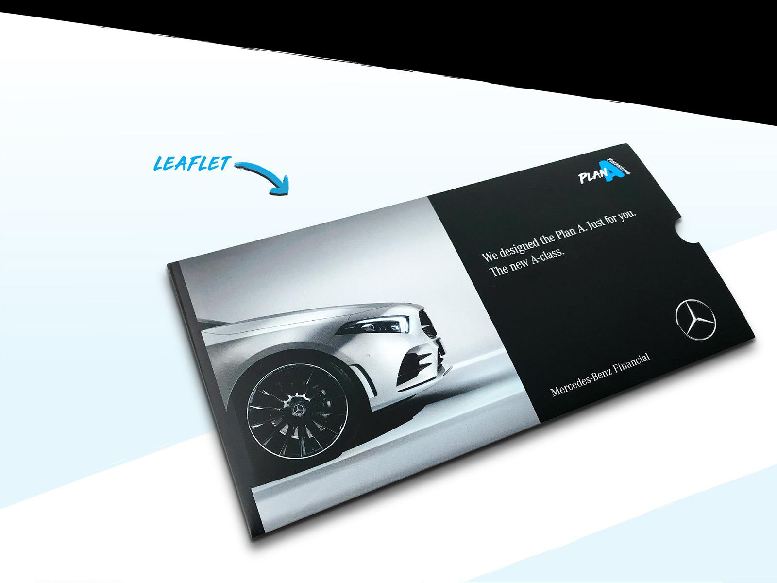 Mercedes-Benz Plan A financing plan masthead design applied onto the latest A class car leaflet