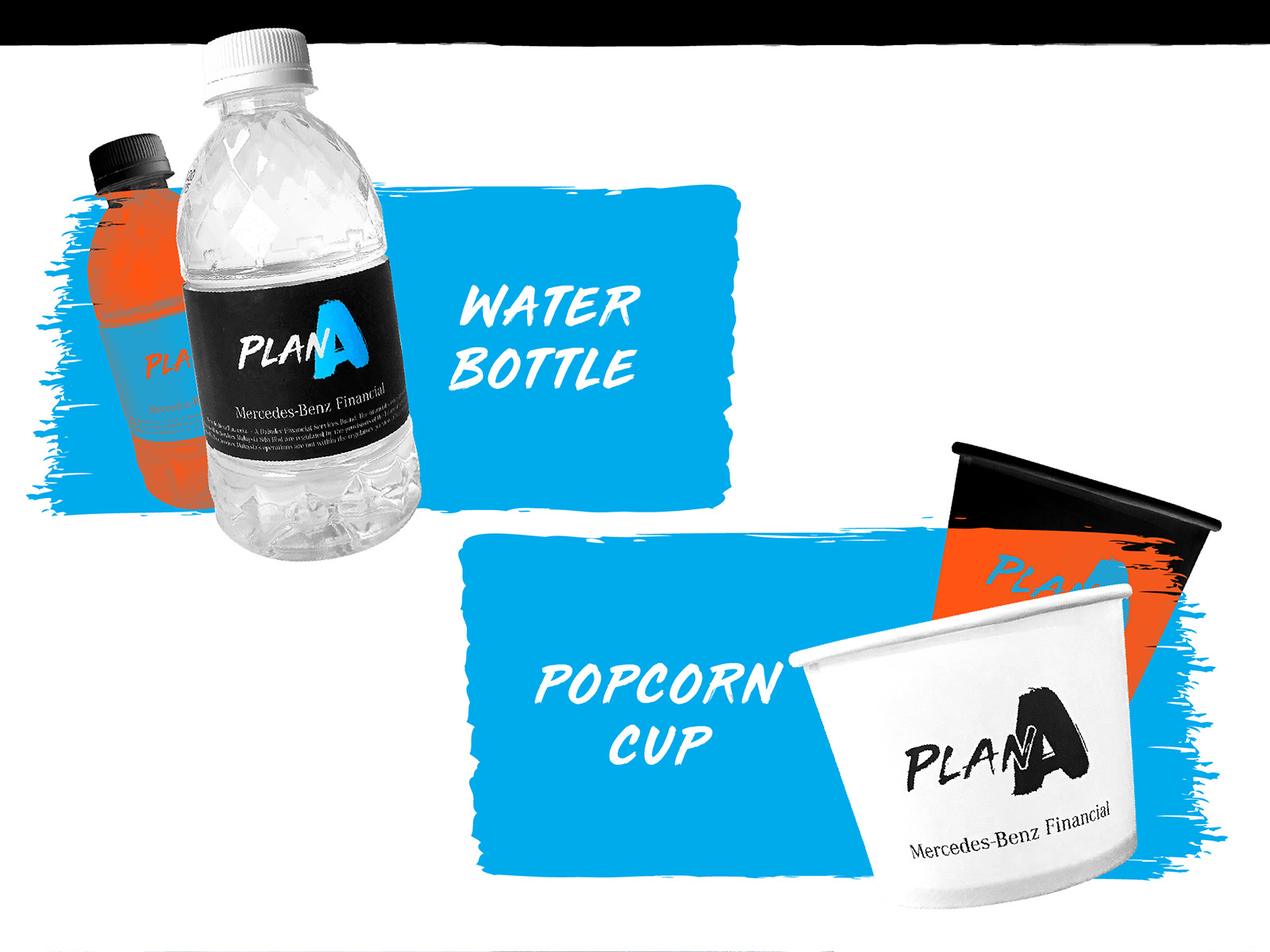 Mercedes-Benz Plan A financing plan masthead design applied onto water bottle and pop corn cup packaging