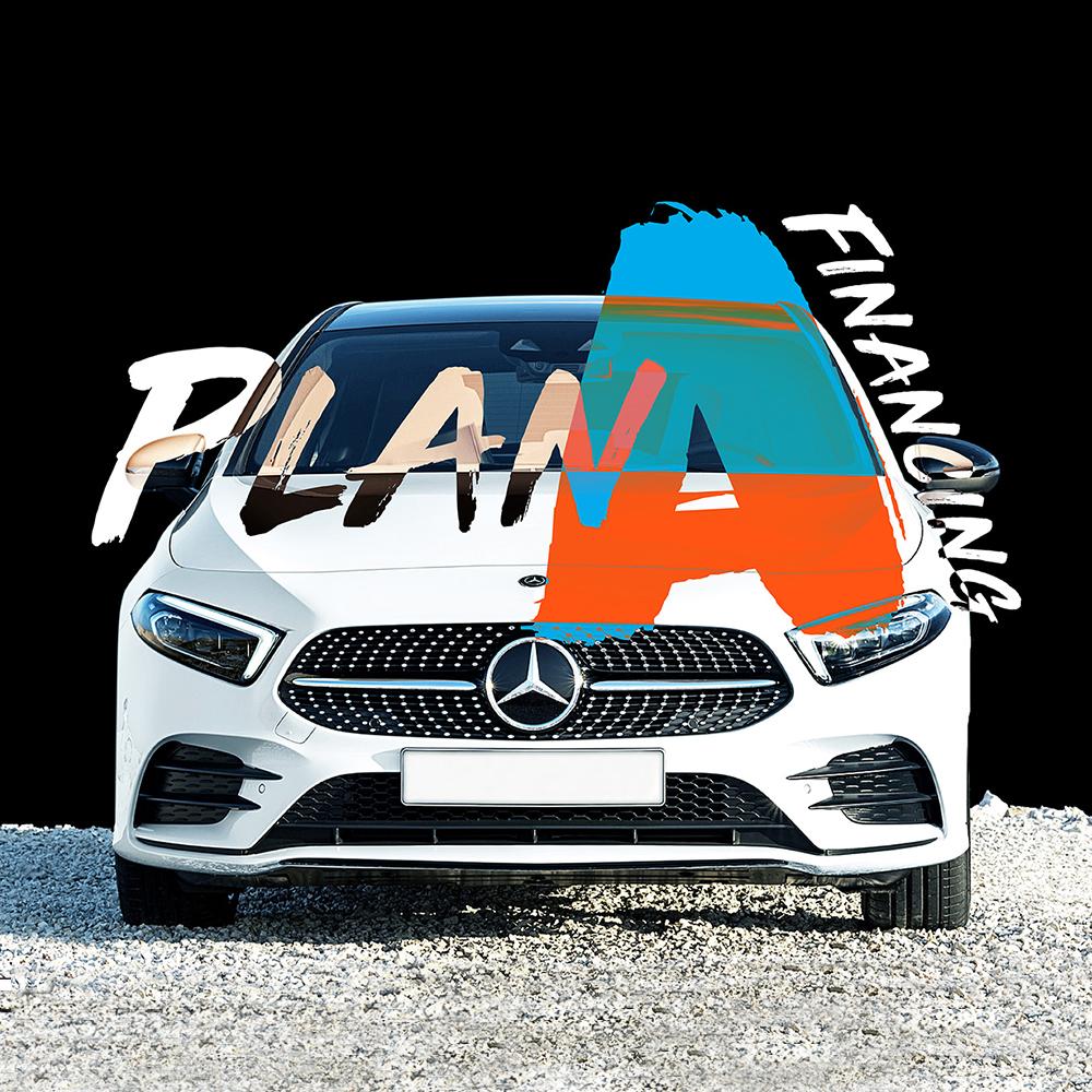 Mercedes-Benz Plan A financing plan masthead design on the latest A class car.