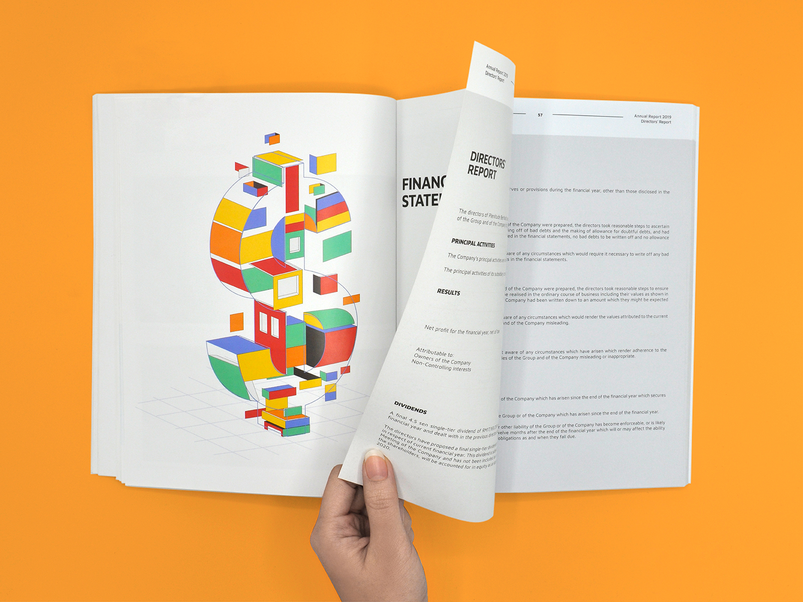 Plenitude annual report 2019 inner page layout design with art direction elemental shapes forming a money sign for finance section