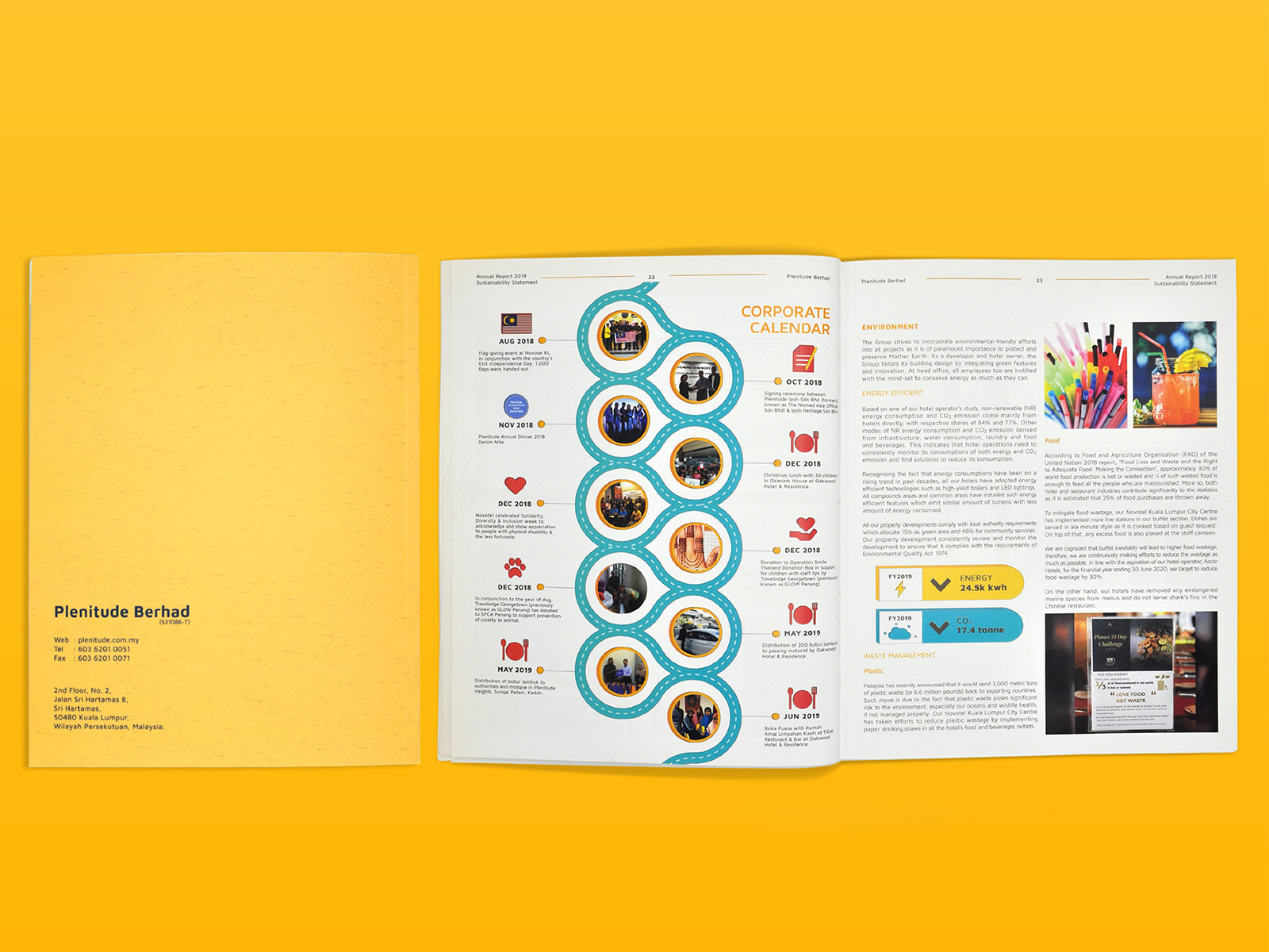 Plenitude annual report 2019 inner page layout design with graph and icon design