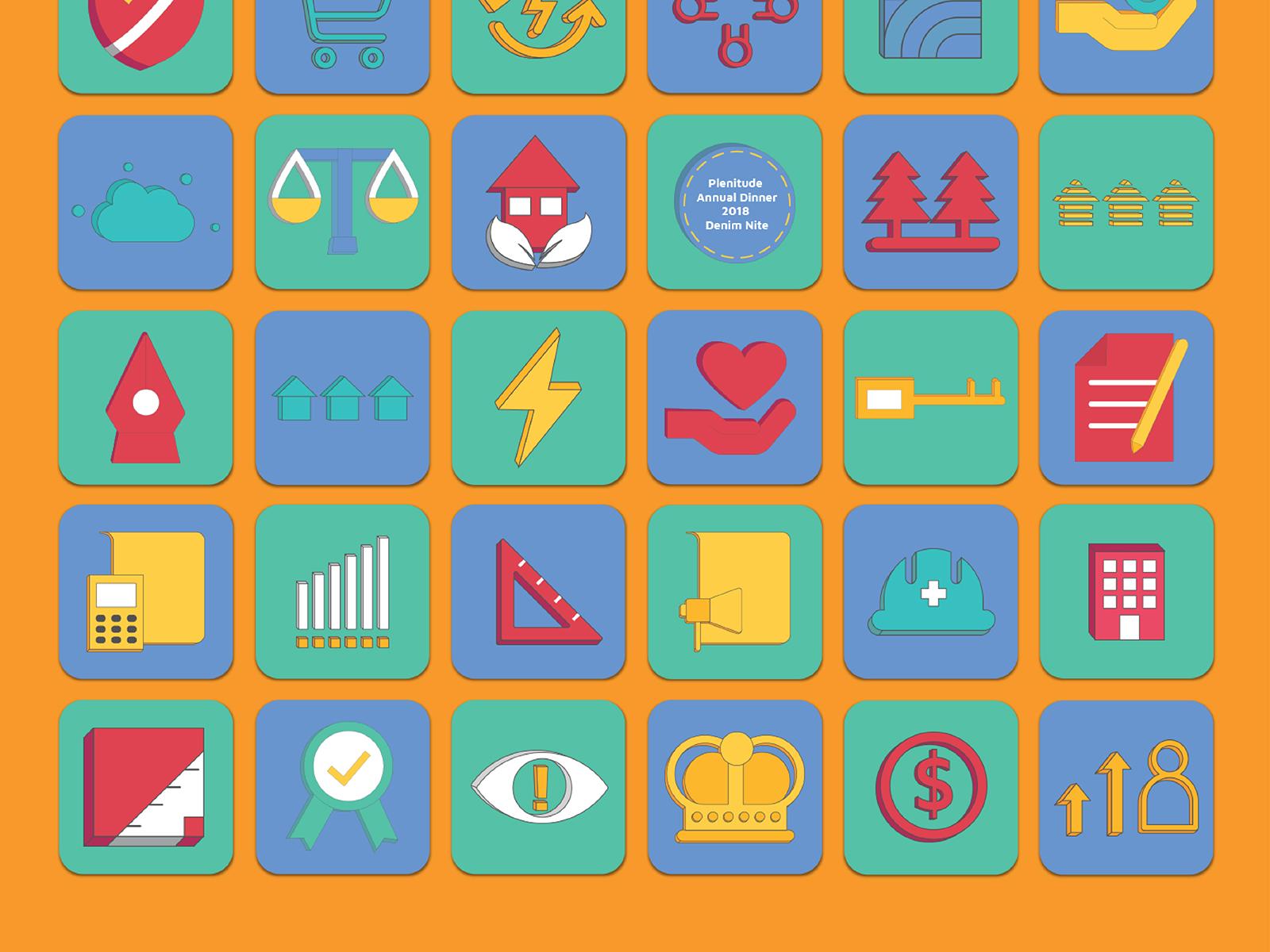 Plenitude annual report 2019 icon designs