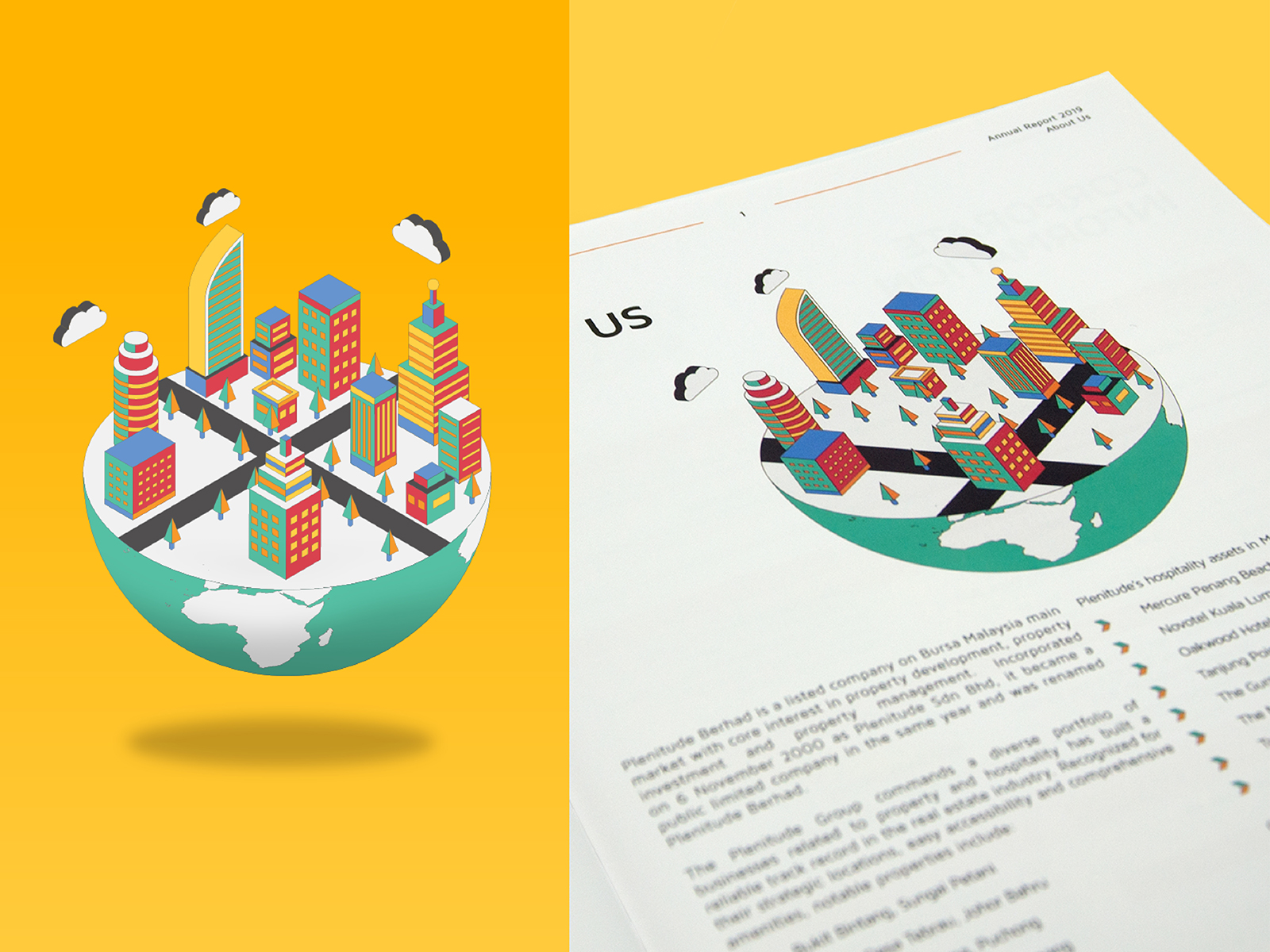 Plenitude annual report 2019 inner page layout design with graphic illustration for About Us section