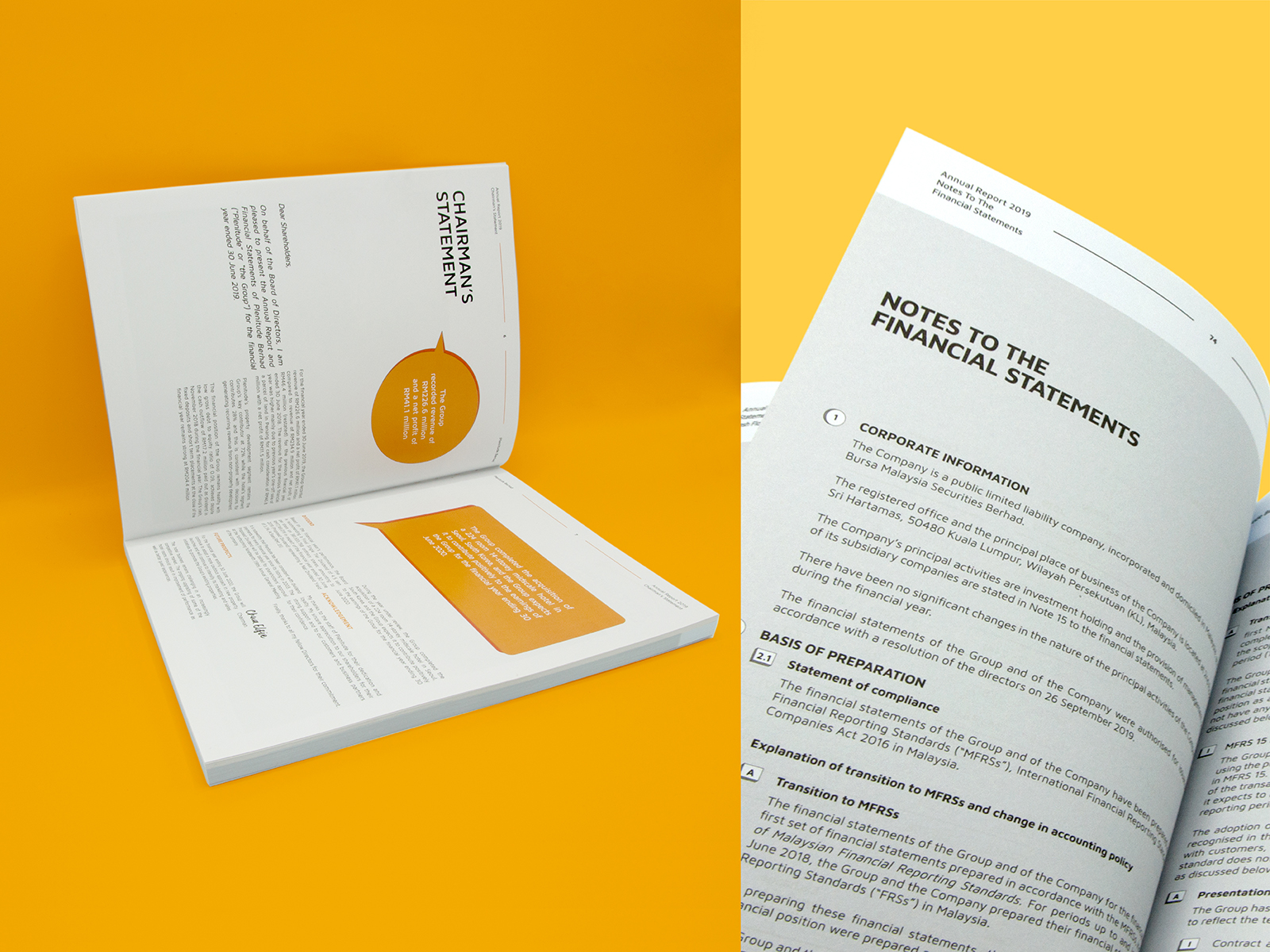 Plenitude annual report 2019 inner page layout design and graphic elements