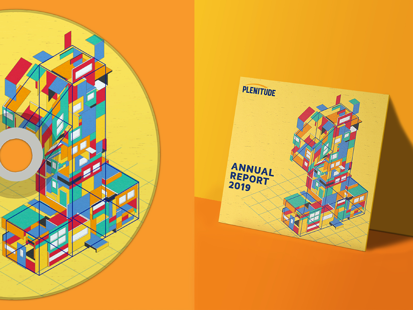 Plenitude annual report 2019 cover design forming number one to signify being the best and applied to cd sticker