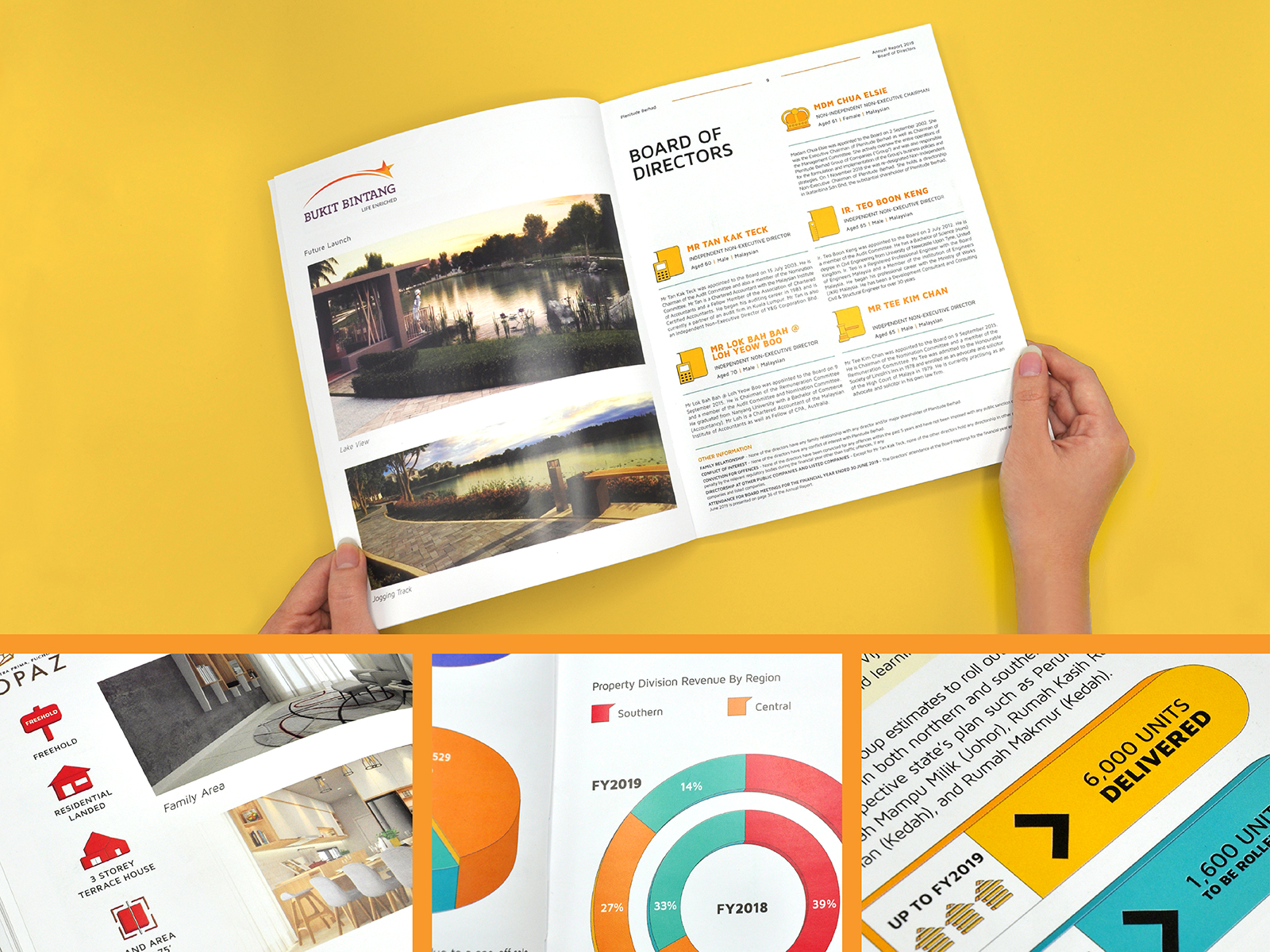 Plenitude annual report 2019 inner page layout design with graph and icon design and a hand holding the annual report