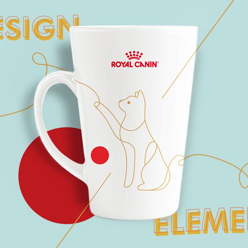White Royal Canin mug design featuring a cat in line drawing on a vibrant background with bold elements