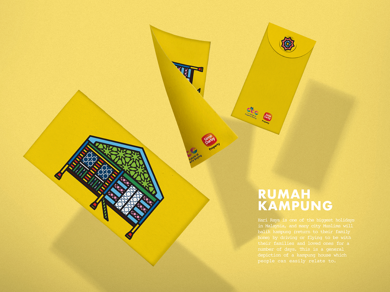 Sime Darby POPRAYA 2019 sampul or green packet design using campaign art direction featuring traditional Malay kampung or country home