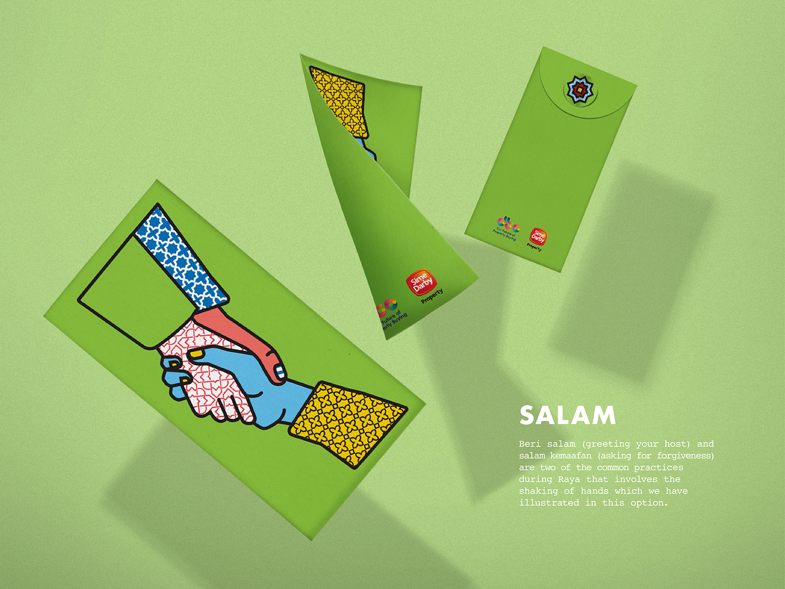 Sime Darby POPRAYA 2019 sampul or green packet design using campaign art direction featuring festive action of asking for forgiveness with hands