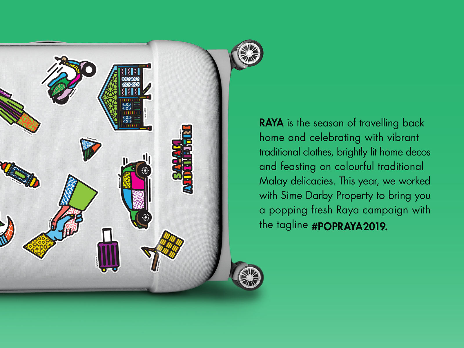 Sime Darby POPRAYA 2019 campaign showcasing illustrated raya elements and traditions stickers on travel luggage and campaign description