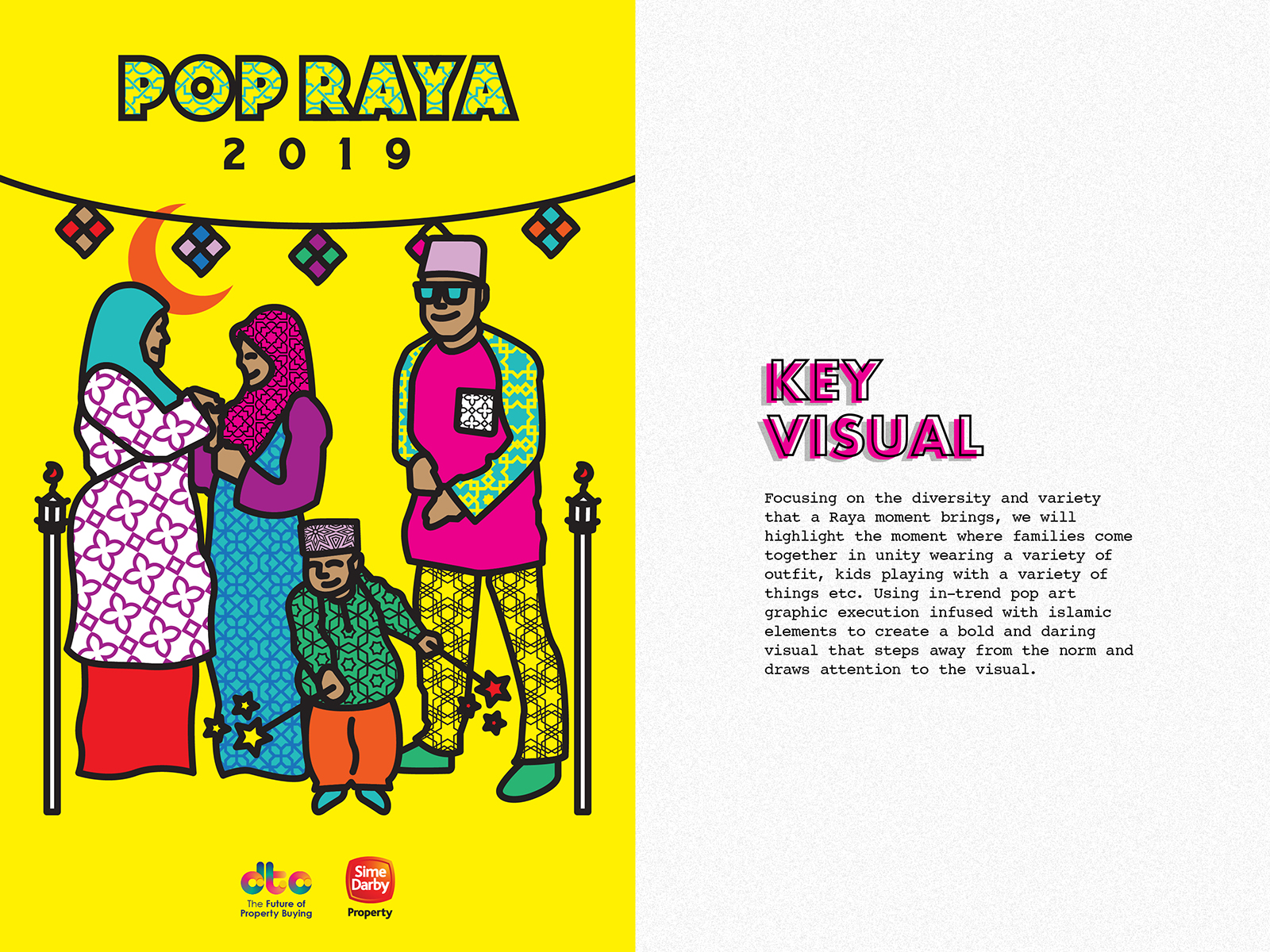 Sime Darby POPRAYA 2019 key visual design featuring a returning to hometown scene with festive decorations and reunion of family members and child playing fireworks