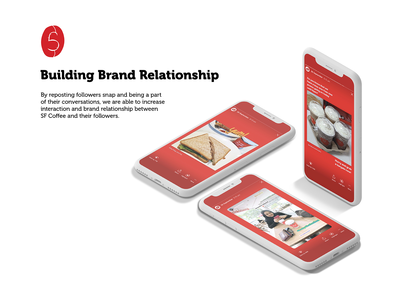 San Francisco Coffee social media management customer post and stories sharing to create bond with consumers with a specific style of red background for brand consistency