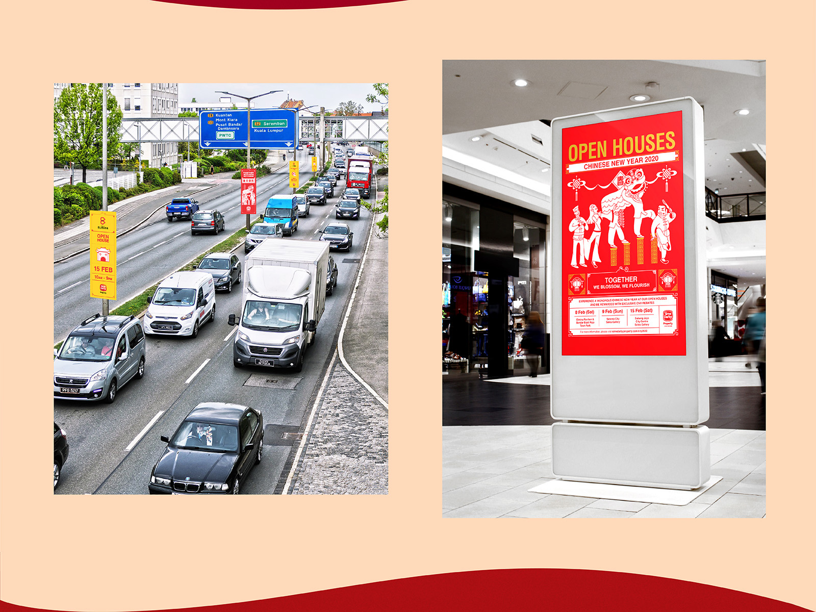 Sime Darby Chinese New Year 2020 campaign POSM or collateral with red packet or ang pow art direction, traditional poster and road side bunting