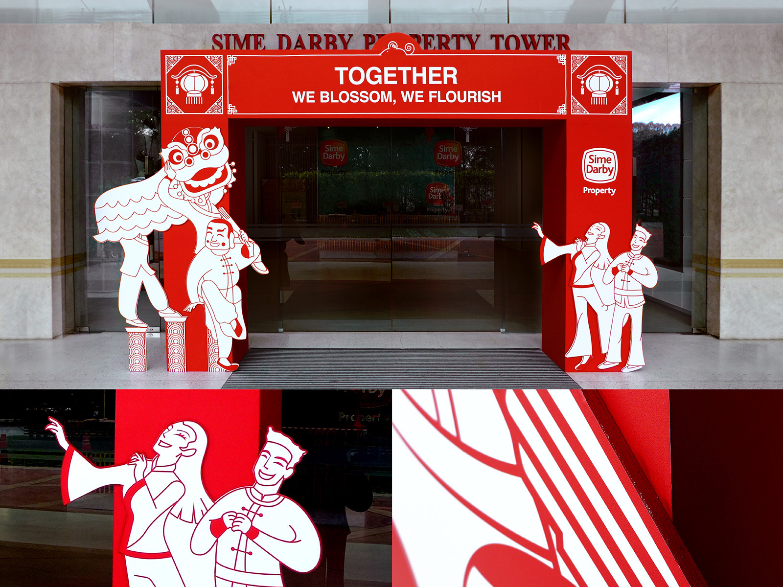 Sime Darby Chinese New Year 2020 campaign event decorations with red packet or ang pow art direction, arch design and close up