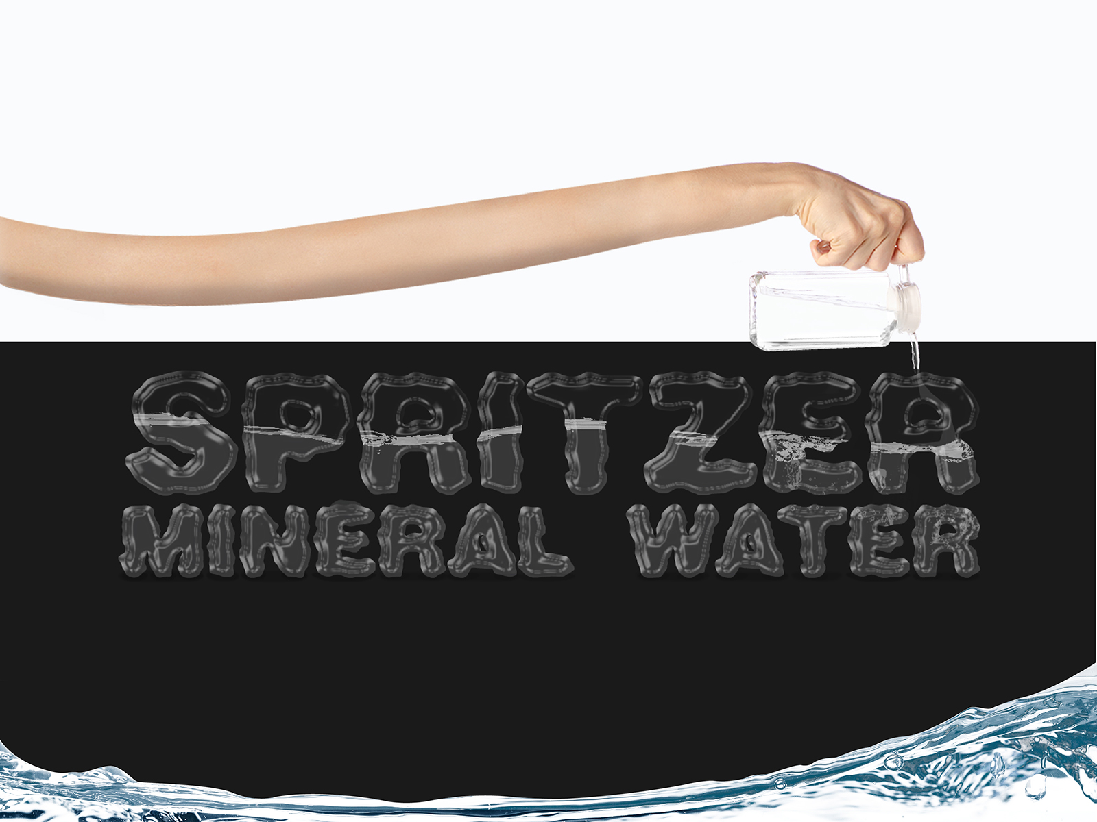 Stretched hand pouring water into typography text in water effect that reads Spritzer Mineral Water for Why Stretch For Water campaign