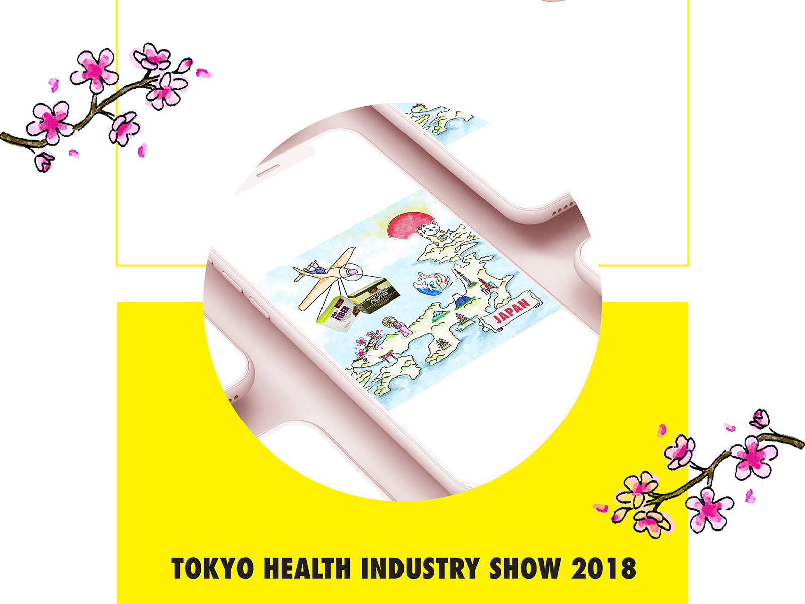 Y2S Wellness social media management post illustration of their Japan trade show attendance viewed on a mobile device with surrounding illustration of sakura flowers
